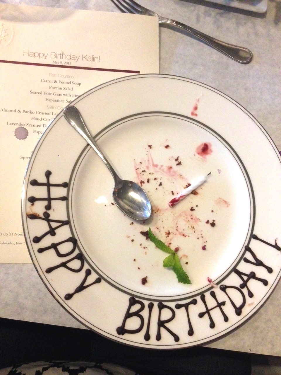 """How fitting is it that a wine drop is on the """"Happy Birthday Kalin"""" menu? #universe"""