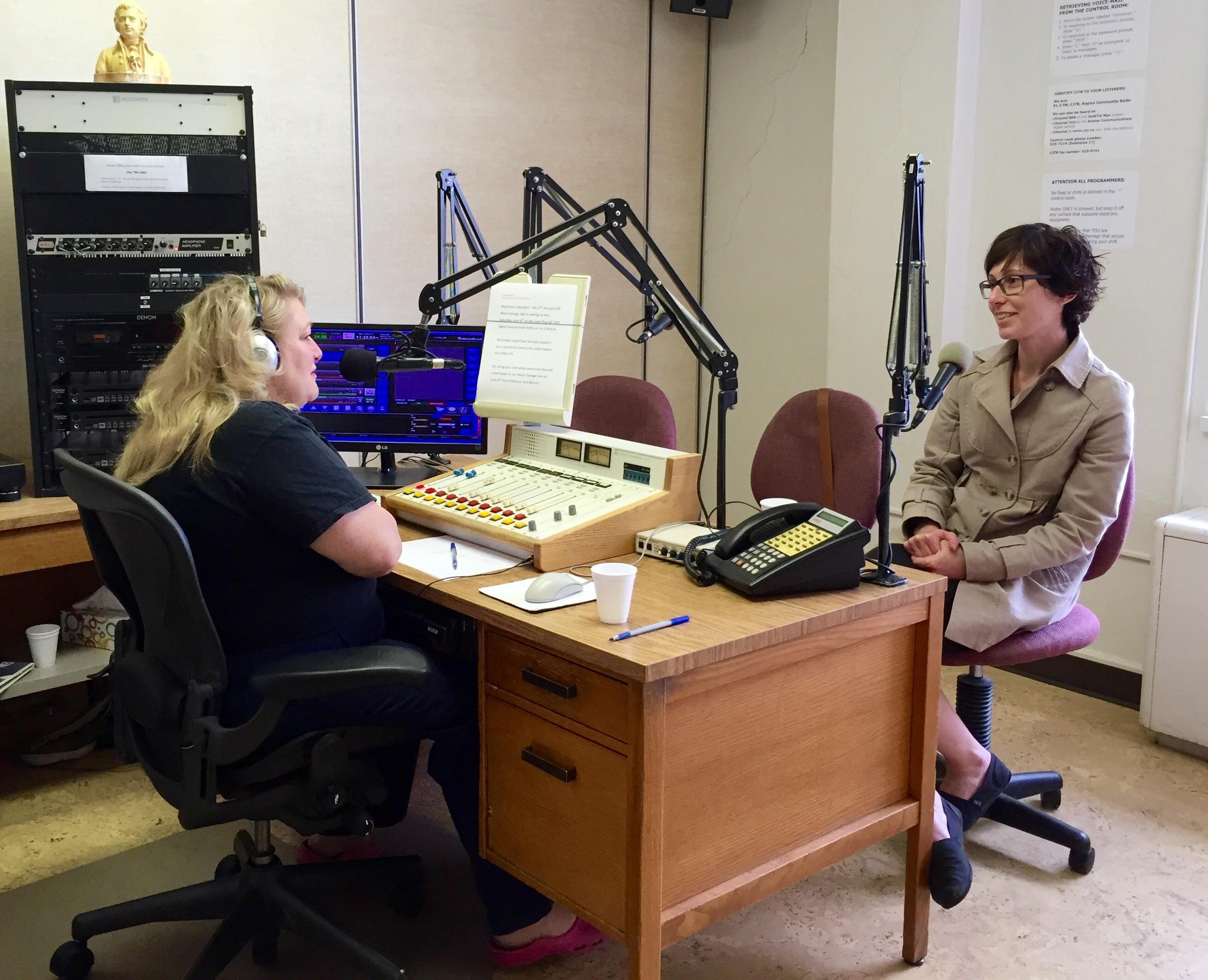Interview on CJTR Regina Community Radio's Words on Air with host Jeanne Alexander (June 3, 2015). photo credit: Shelley Banks
