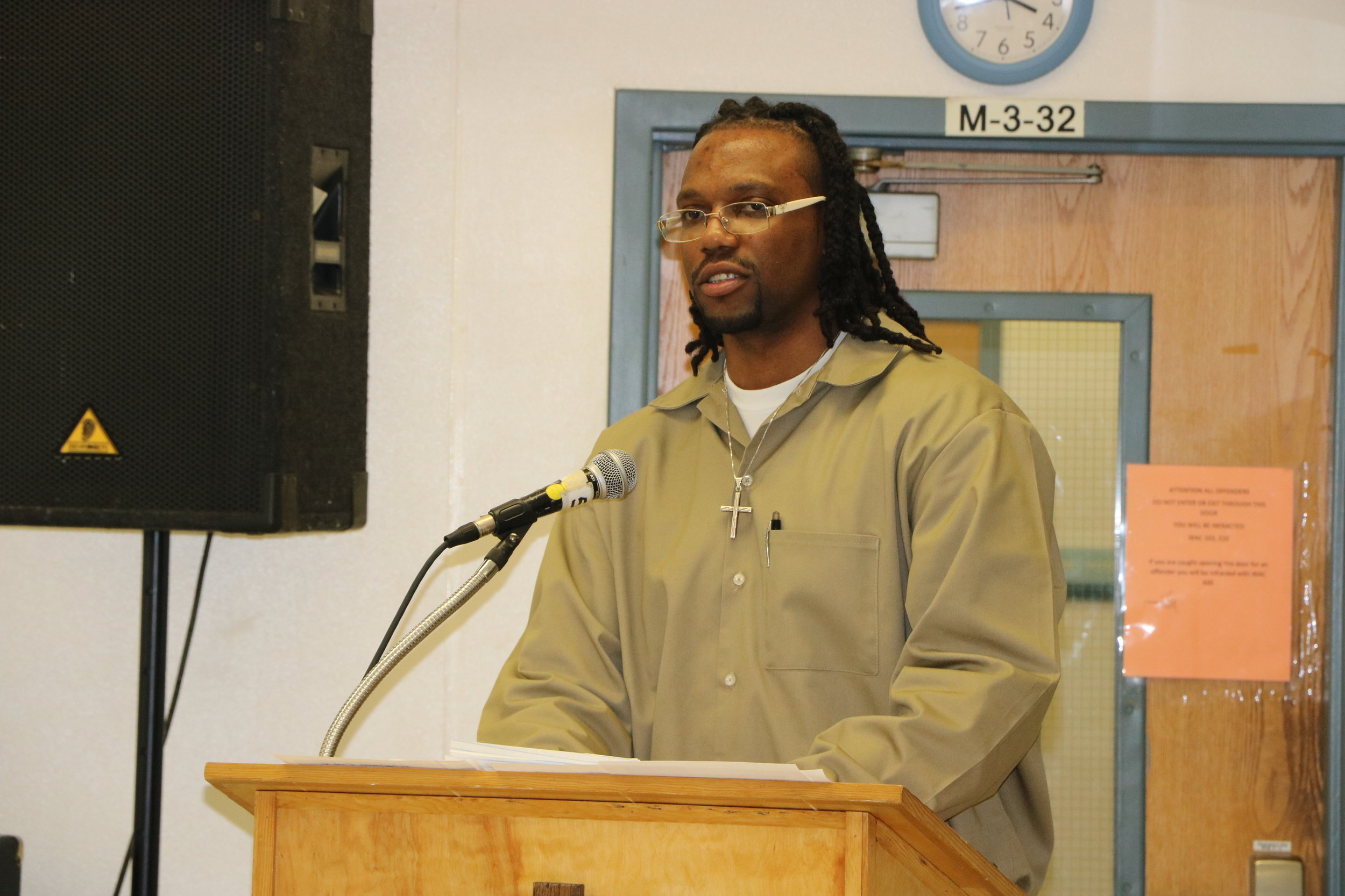 Clarence speaking at our   State of the Community: The Future of Prisons   panel discussion