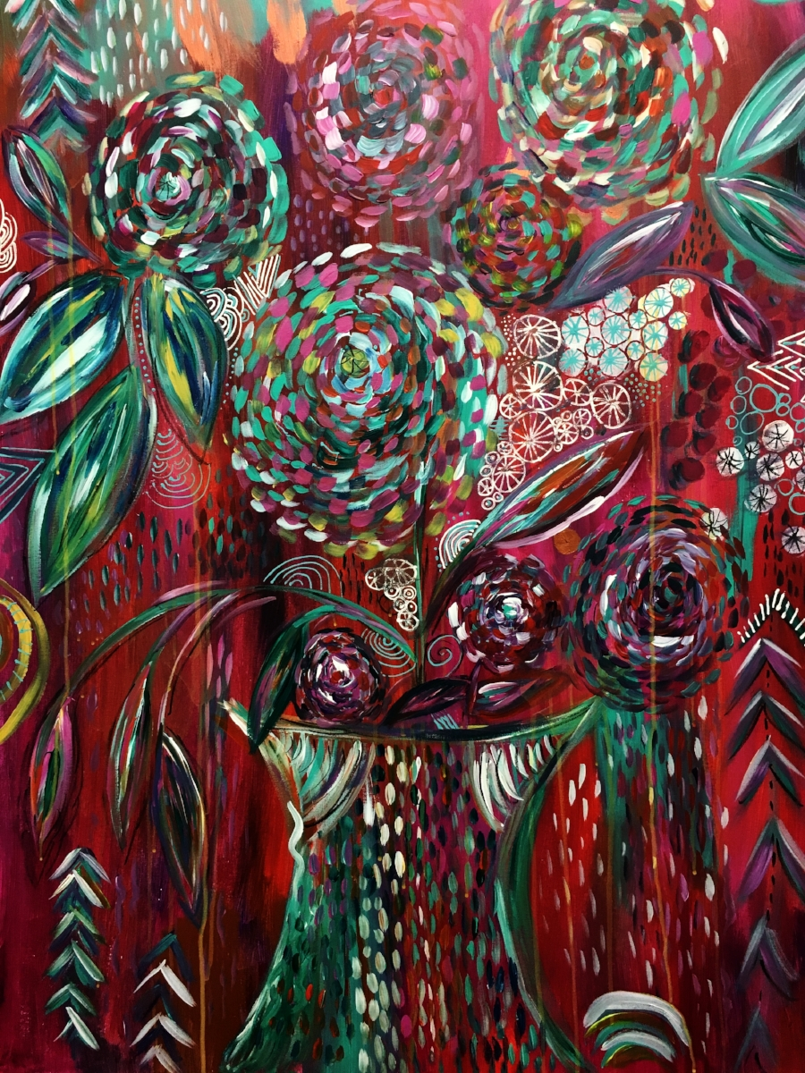 """Crazy bloom"" 36""x48"""