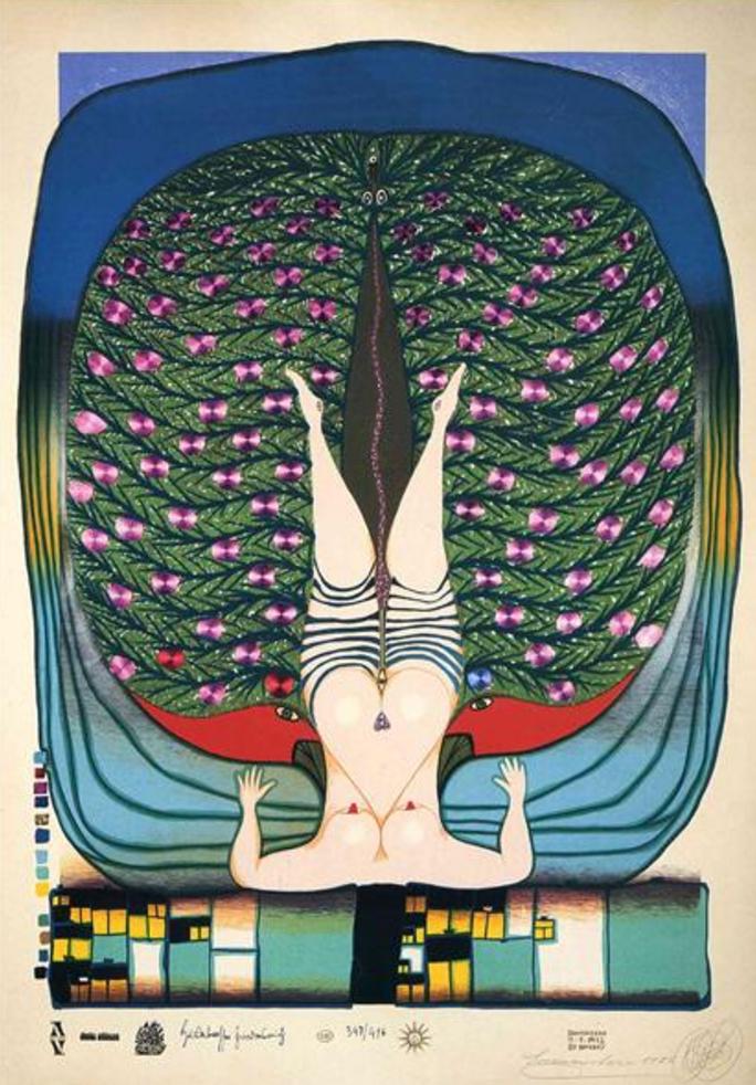 Art by: Friedensreich Hundertwasser (1972). The Austrian artist serves as an inspiration to Jenny create her own art work.