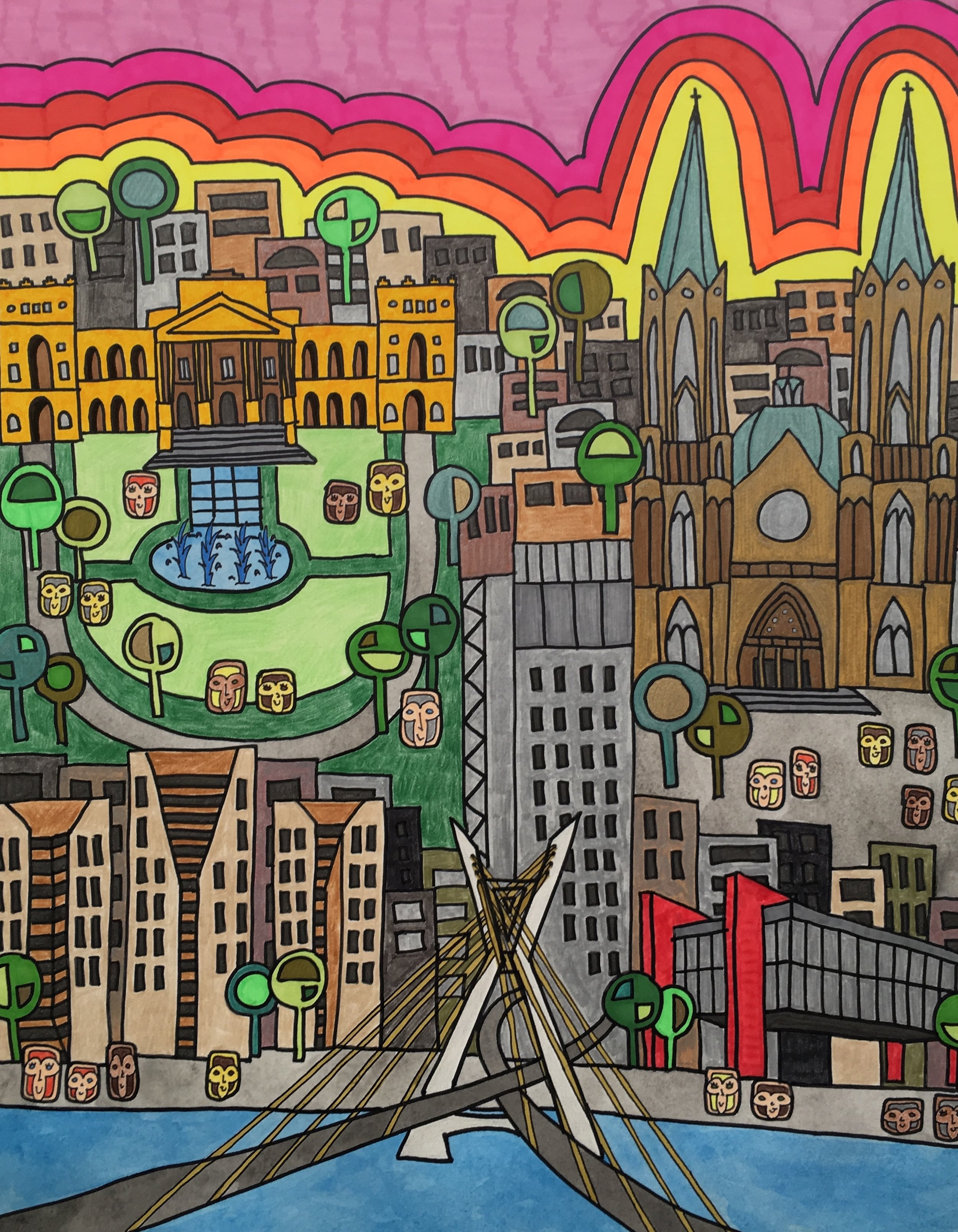 """""""1554"""" - The art represents São Paulo, the biggest city in Brazil. The name of the piece is an allusion to the year of birth of the city."""