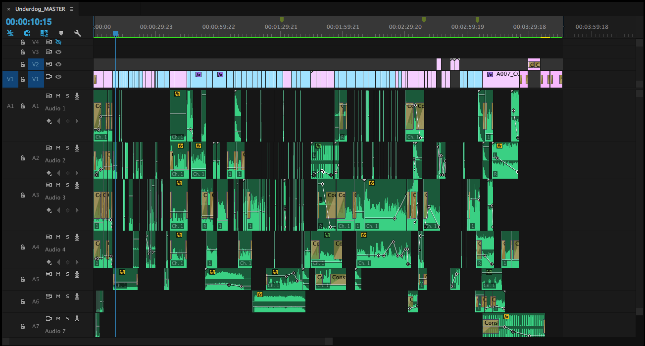 The Final timeline with sound design.