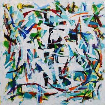 IMPRESSION BLUE  24(h) x 24(w) in