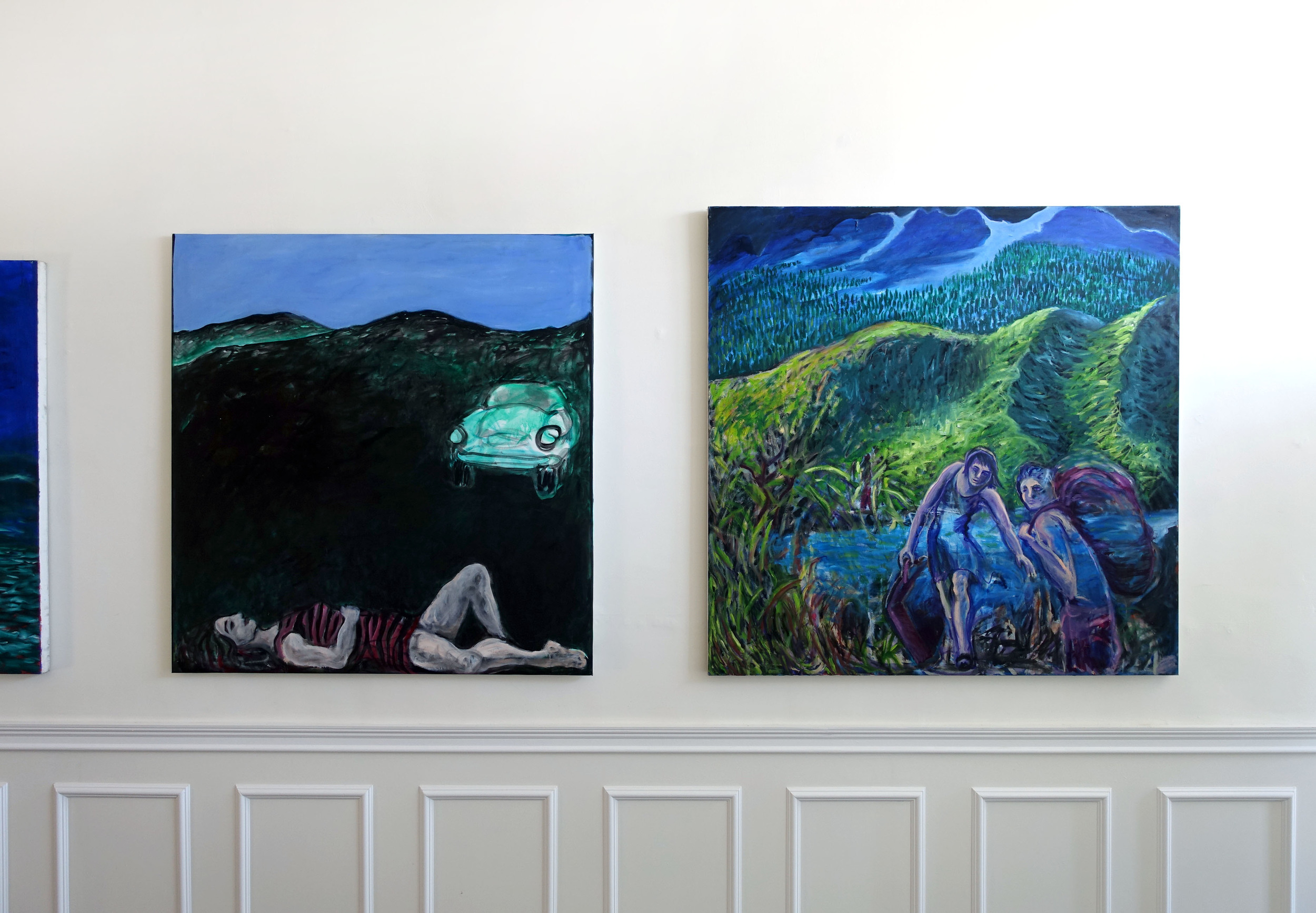 (left) HEADLIGHTS 49 x 49in Oil on canvas  (right) TRAVELERS HIKE 54 x 54in Oil on canvas
