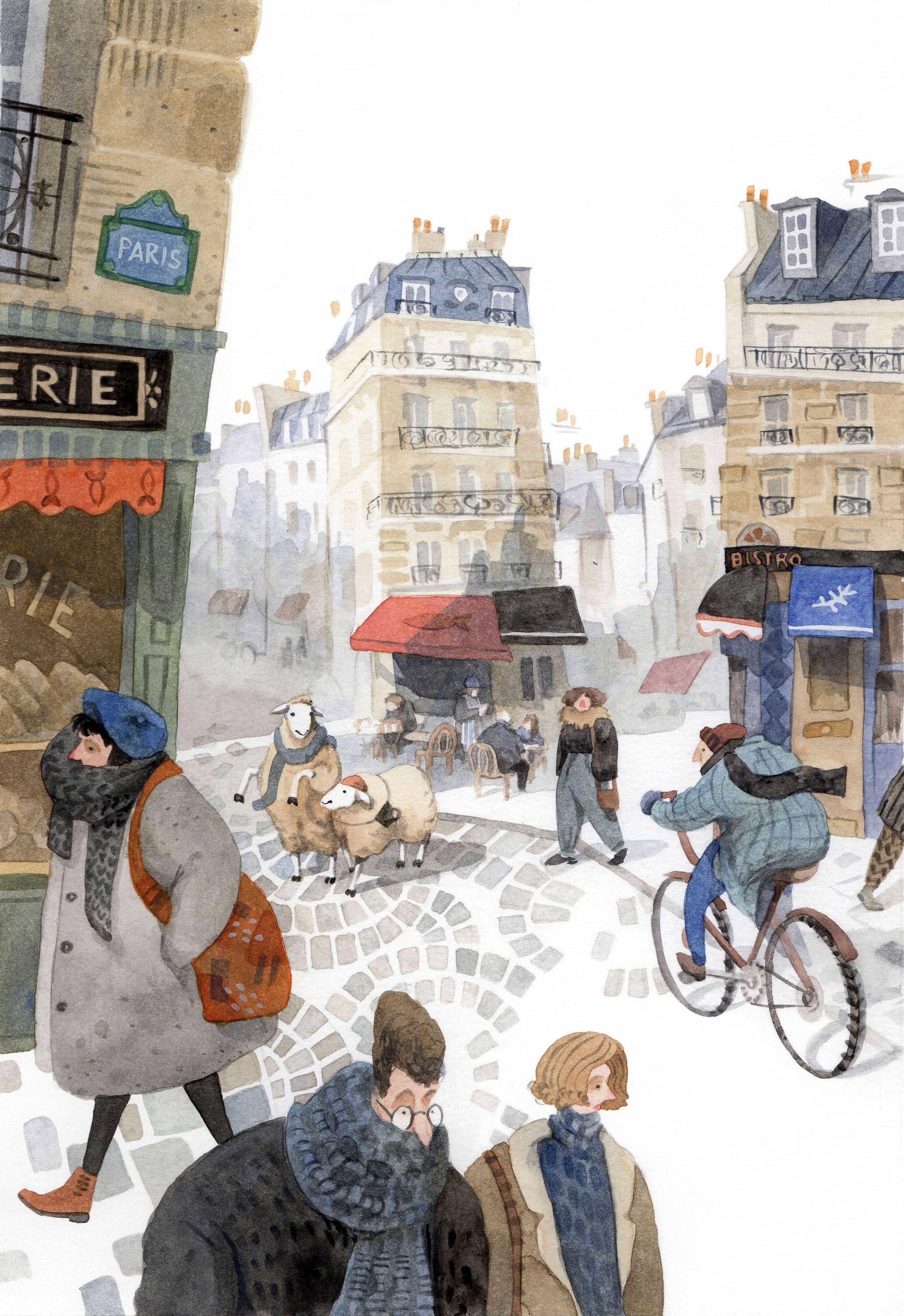 Lost sheep in Paris, Priscilla Tey, Illustration Art