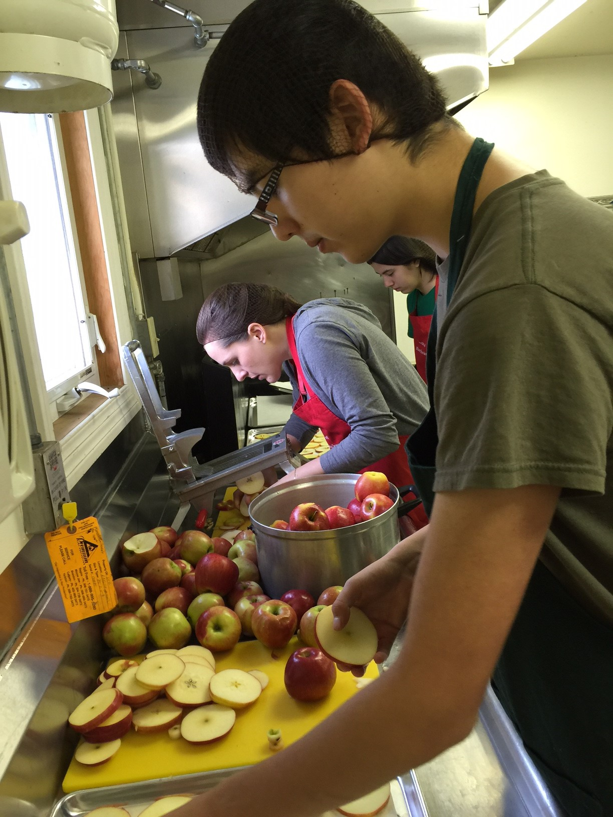 Apples getting sorted and sliced before drying.