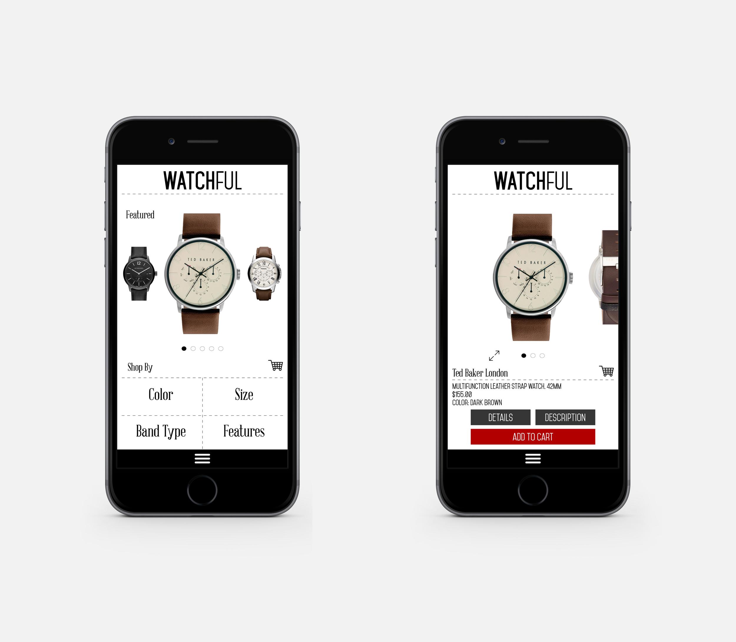 WATCHFUL E-commerce Mobile App Design