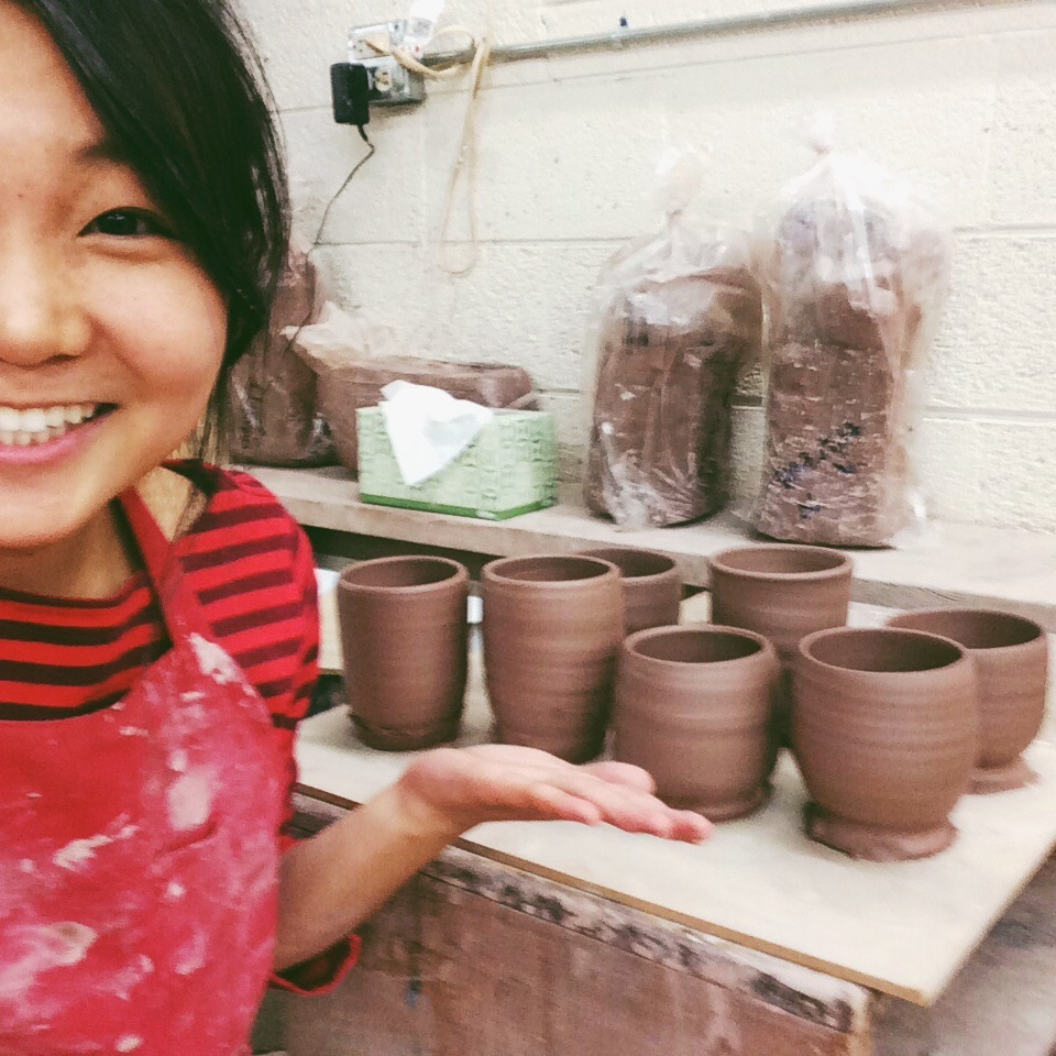 proudly featuring my very first pottery pieces 02/2015