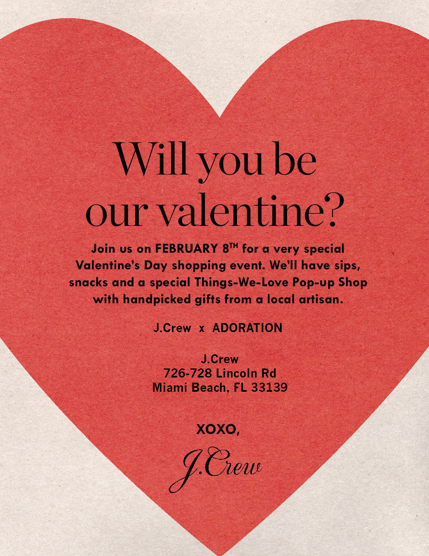 J.Crew Valentine's Day Event February 08 2018