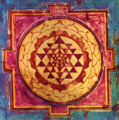 ANCIENT SRI YANTRA, UNION OF ALL OPPOSITES, THE HEART'S NURTURING FLOW. ARTIST UNKNOWN.