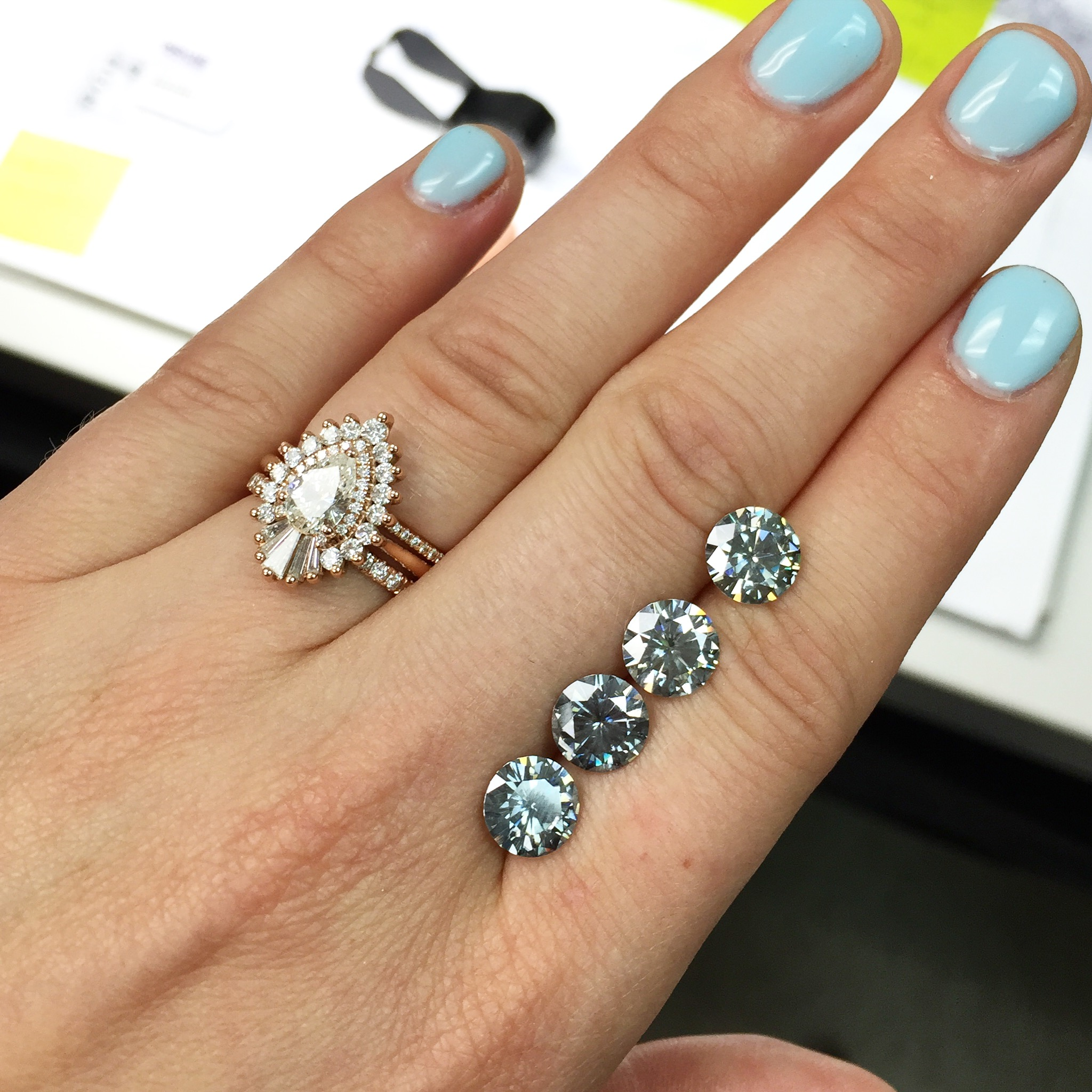 The stunning blue gray 8mm (2 carat size) moissanite that I selected for my dream ring