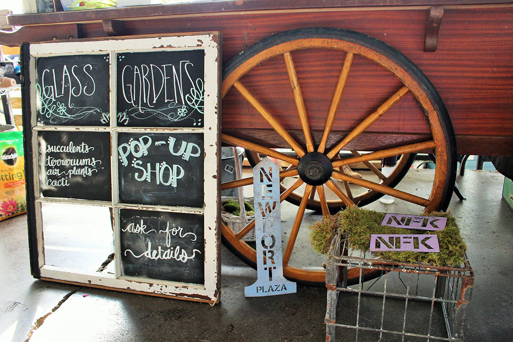 Glass gardens flower cart at o'connor brewing company norfolk, va  Photo credit  JW Landmark Photography