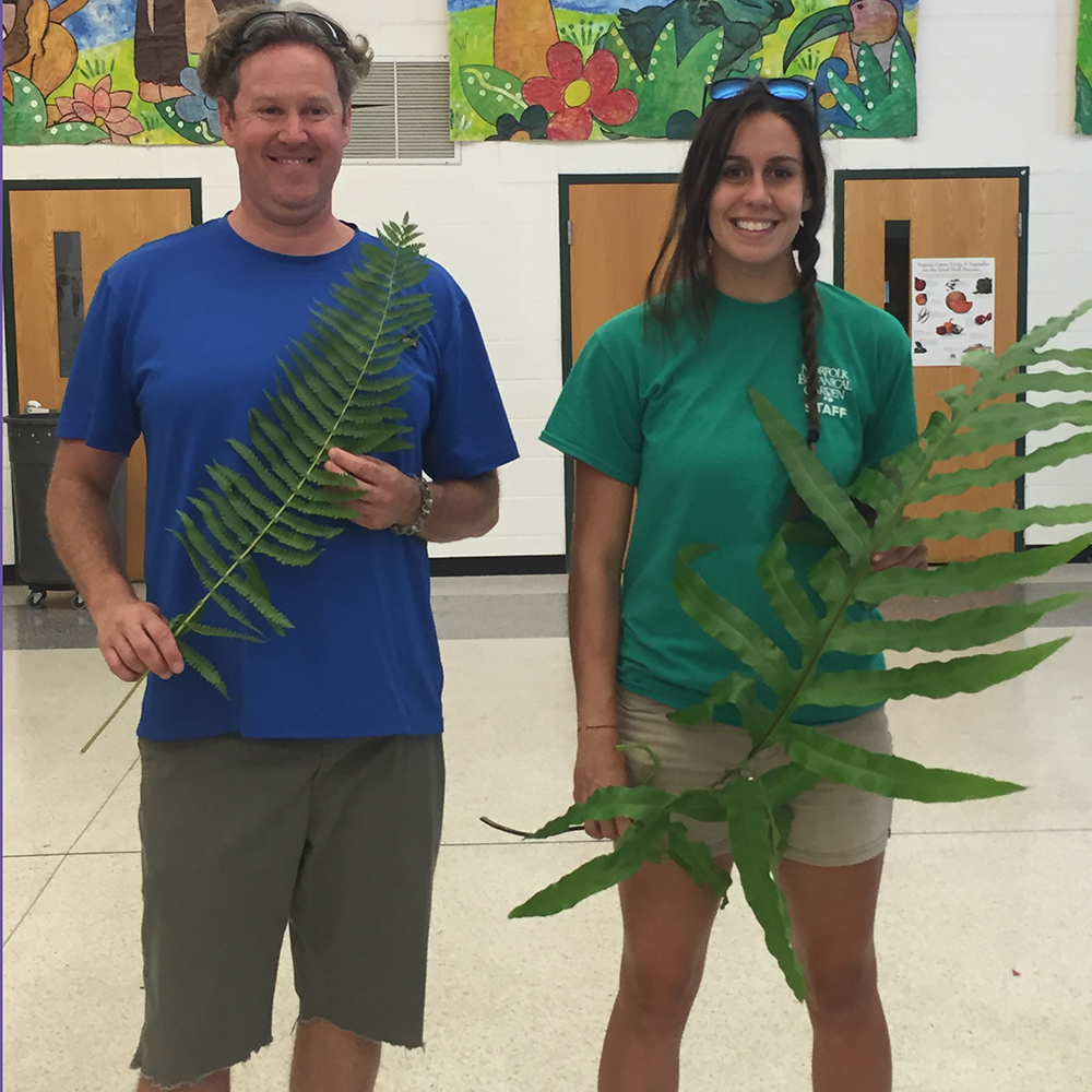 Alex and John at a elementary school workshop about plants
