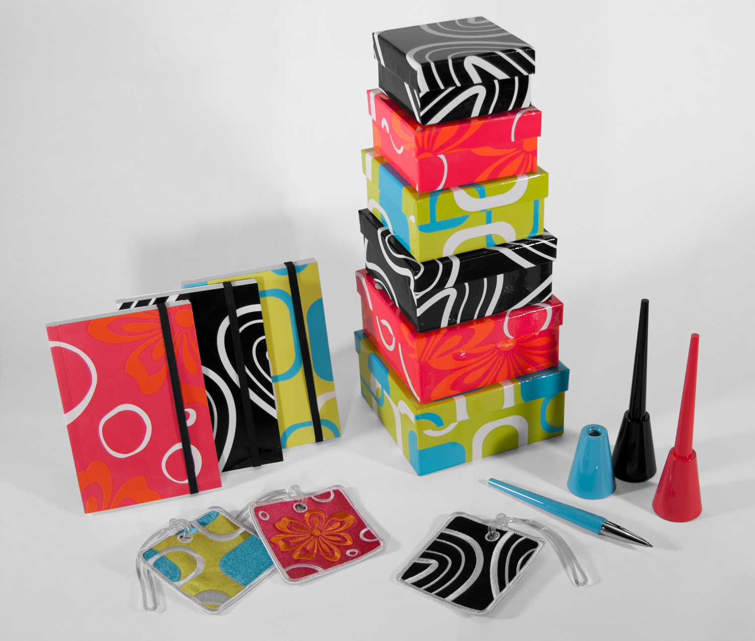 fab Collection - I was also responsible for working on a small collection of accessories for sale. The patterns and colors are all my work and really stood out in Xonex's product/collection line-up at the time.