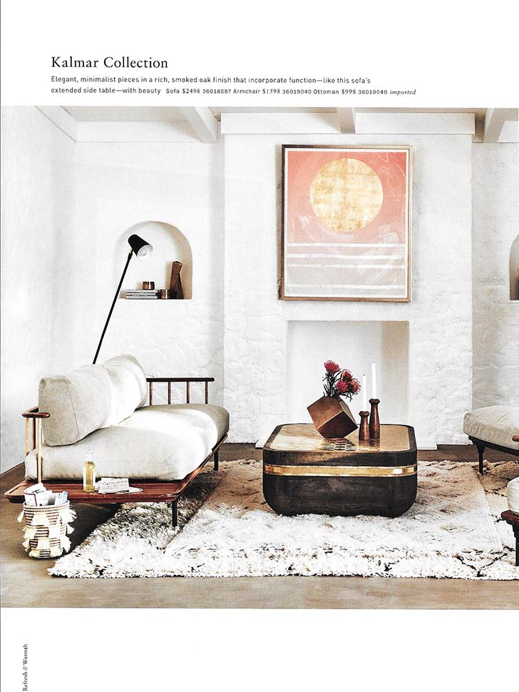 Spring 2017 Bungalow set for Anthropologie. Sculpted walls, cement floor and wooden ceiling.