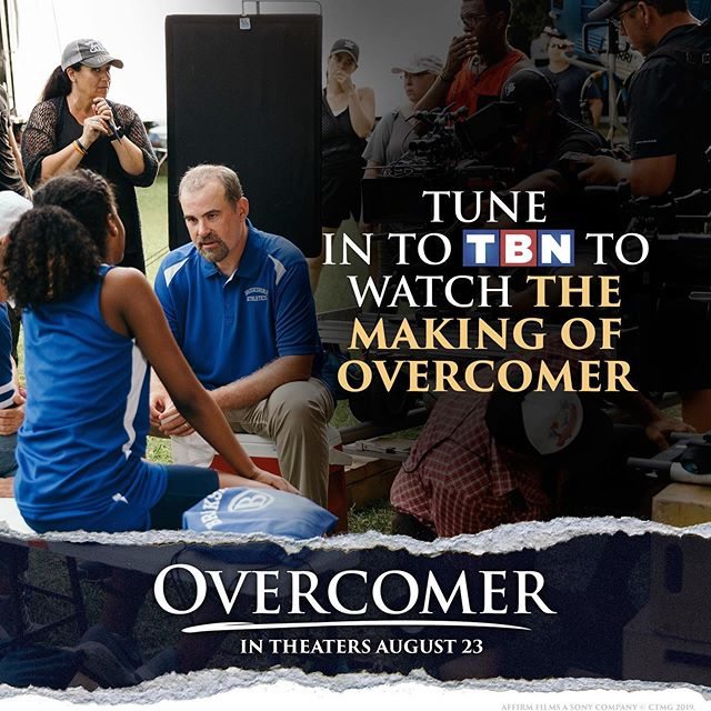 We had the wonderful opportunity to put together a very special 30 minute Making of Overcomer show that airs on TBN starting August 15! Check out the showtimes below!  Catch never before seen behind-the-scenes moments, a sneak peek of clips from the movie, meet the cast and crew, and join the filmmakers as they share what the film is all about.  If you've cut the cord, you can still watch the TBN livestream on their app on your device or online. watch.tbn.tv -Tomorrow Thursday, Aug. 15 (6:30 p.m. EDT/ 3:30 p.m. PDT) -Monday, Aug. 19 (9 p.m. EDT / 6 p.m. PDT) -Thursday, Aug. 22 (10:30 p.m. EDT / 7:30 p.m. PDT)