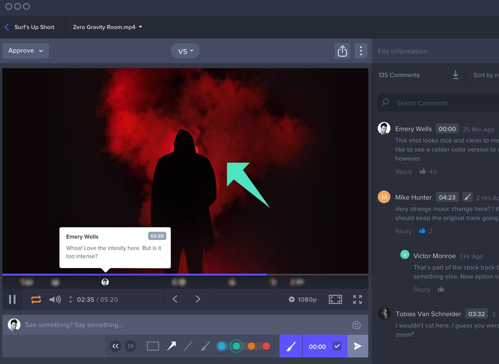 Frame.io allows team members to comment and draw directly on the clip.