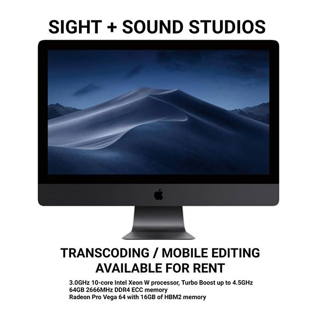 The Newest iMac Pro is now available for rent at Sight + Sound!  This souped-up system is a perfect all-in-one solution for transcoding footage and on-location editing. It features a beautiful 5K display, a fast 2TB internal SSD and Thunderbolt 3.0 (USB-C) ports that will make moving files a snap!  Configuration: 3.0GHz 10-core Intel Xeon W processor, Turbo Boost up to 4.5GHz 64GB 2666MHz DDR4 ECC memory Radeon Pro Vega 64 with 16GB of HBM2 memory 2TB SSD Magic Mouse 2 - Space Gray Magic Keyboard with Numeric Keypad - US English - Space Gray  Large Capacity Rental Raids and Color Accurate OLED Monitors also available for rent. . . .  #apple #mac  #imacpro2017 #imacpro #imacprobs #imacpro5k #imacproapple  #imacpro😍 #imacprosetup #imacprodaja #imacprorepair #imacproject #imacproretina #imacproradeonproveg64 #imacproblack #imacprotour #imacprobz #imacproblems #imacprocto #imacprokiller #imacpro9 #imacpro2019 #imacpro2018 #imacpro27 #imacprowallpaper #imacpro208 #imacproriser #filmmaking #editing #videoediting