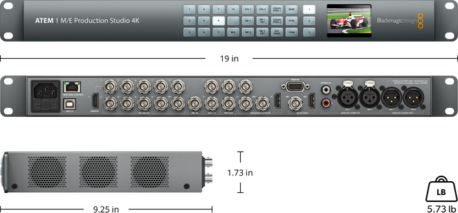 Blackmagicdesign ATEM M/E 1Production Studio 4K Switcher - Includes necessary ethernet and power cables to be controlled by laptop.