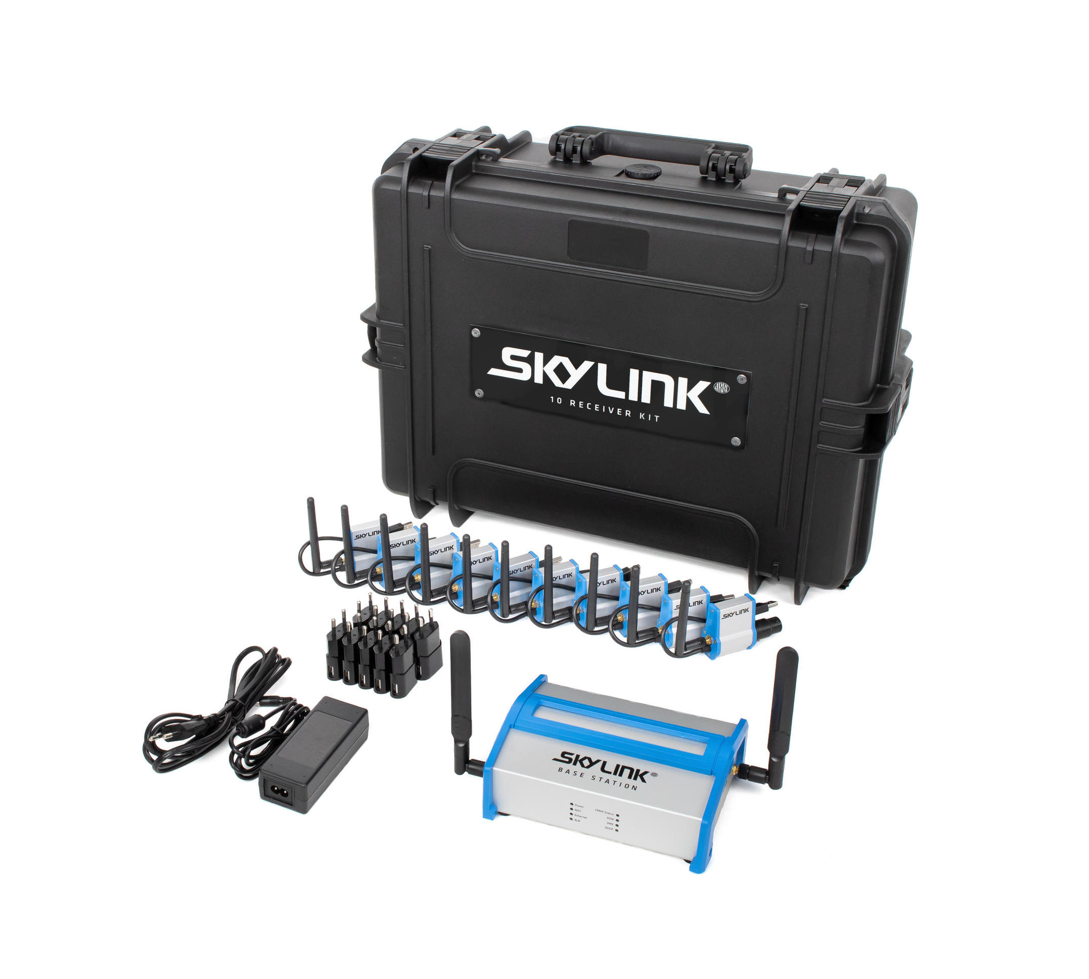 SkyLink 10 Receiver Kit - Includes Base Station, 10 Receivers and Case.For use with ARRI Stellar App. Seamlessly connect & control LED lights from the entire ARRI line.