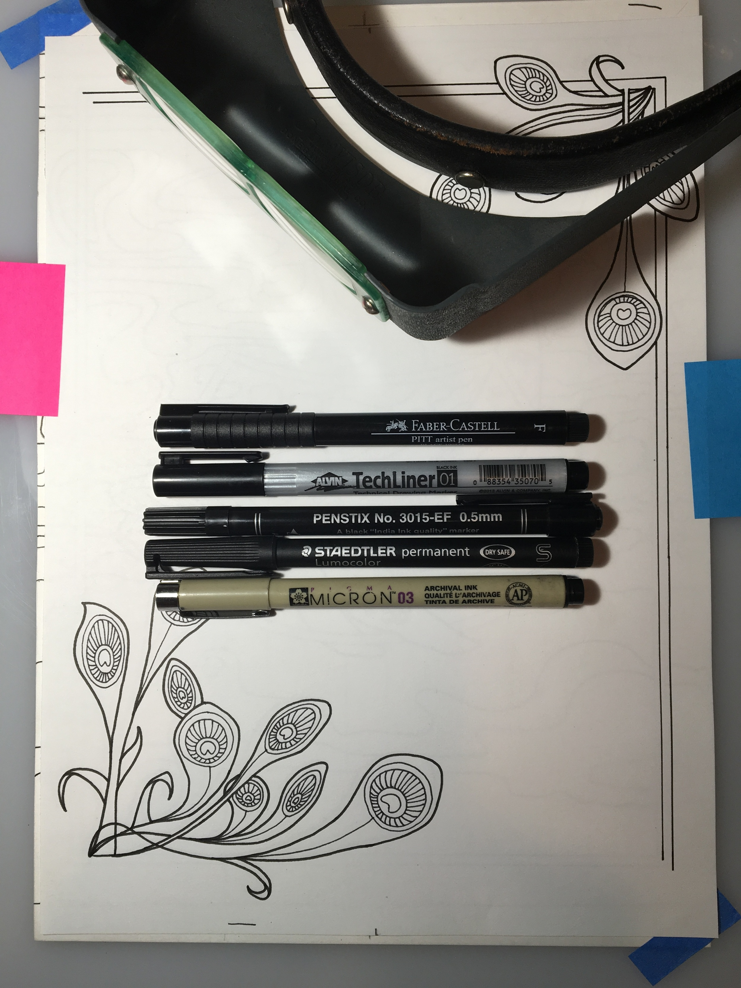 The pens in the test above.