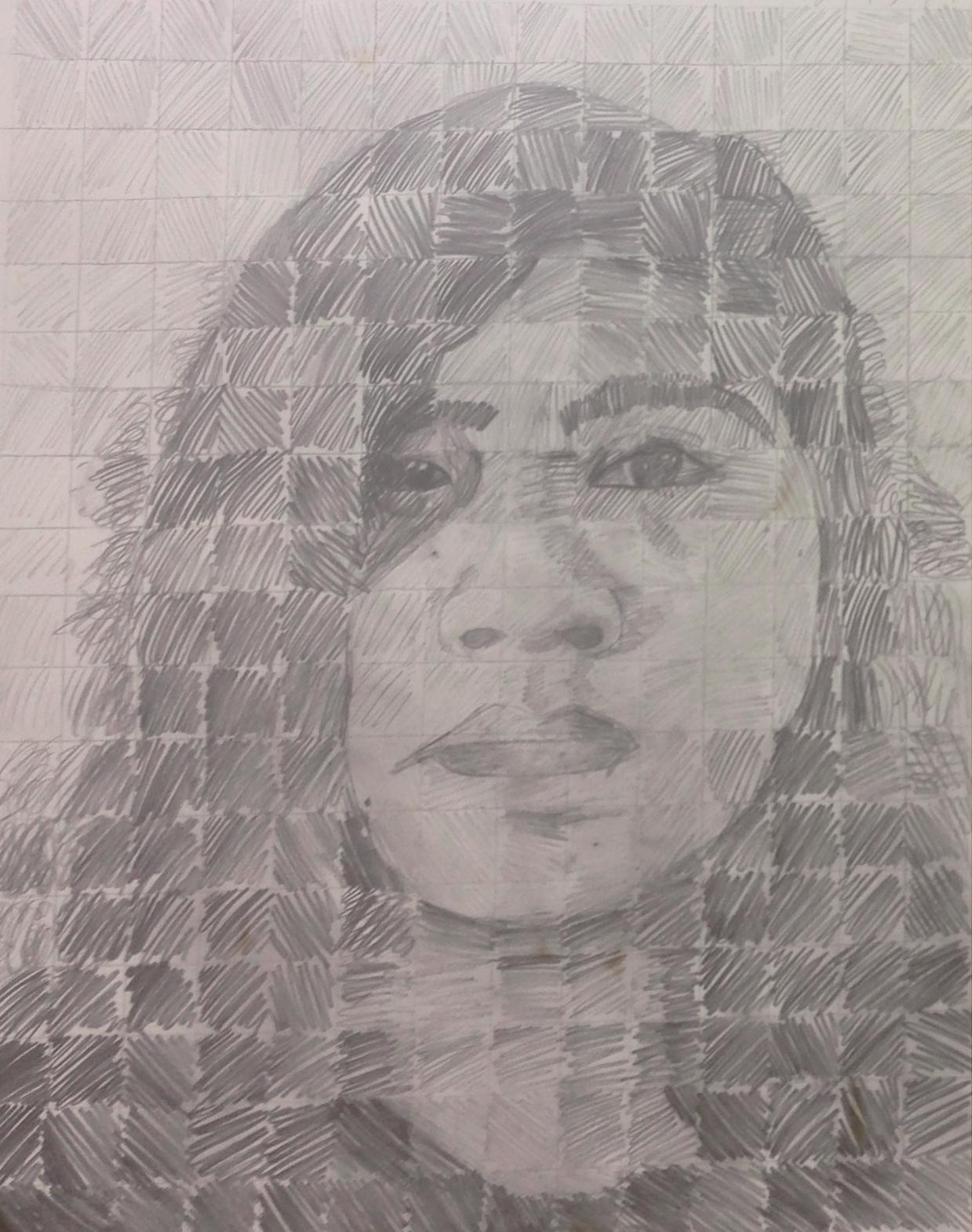self portrait based on Chuck Close | 7th grade