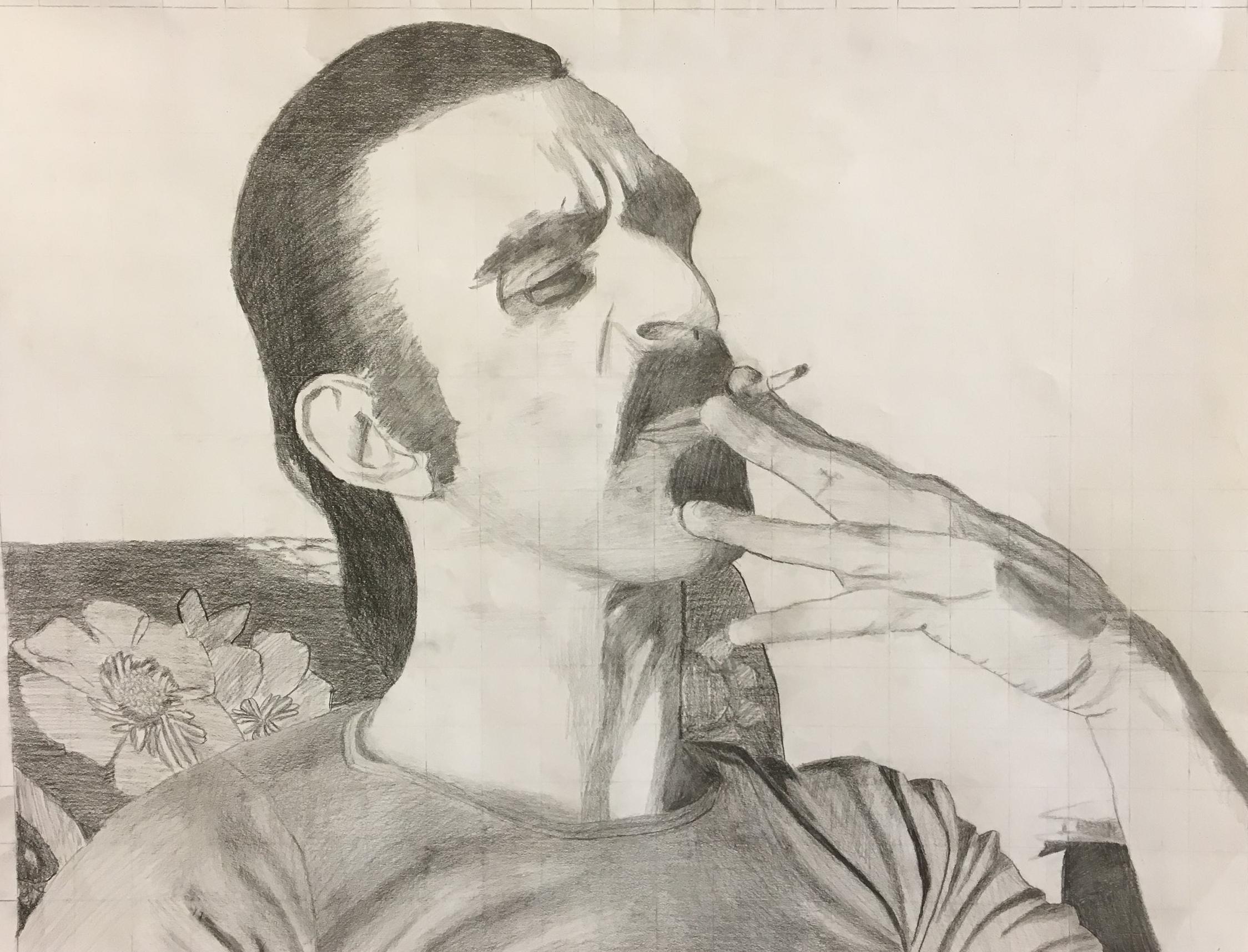 Frank Zappa | pencil portrait | 11th grade
