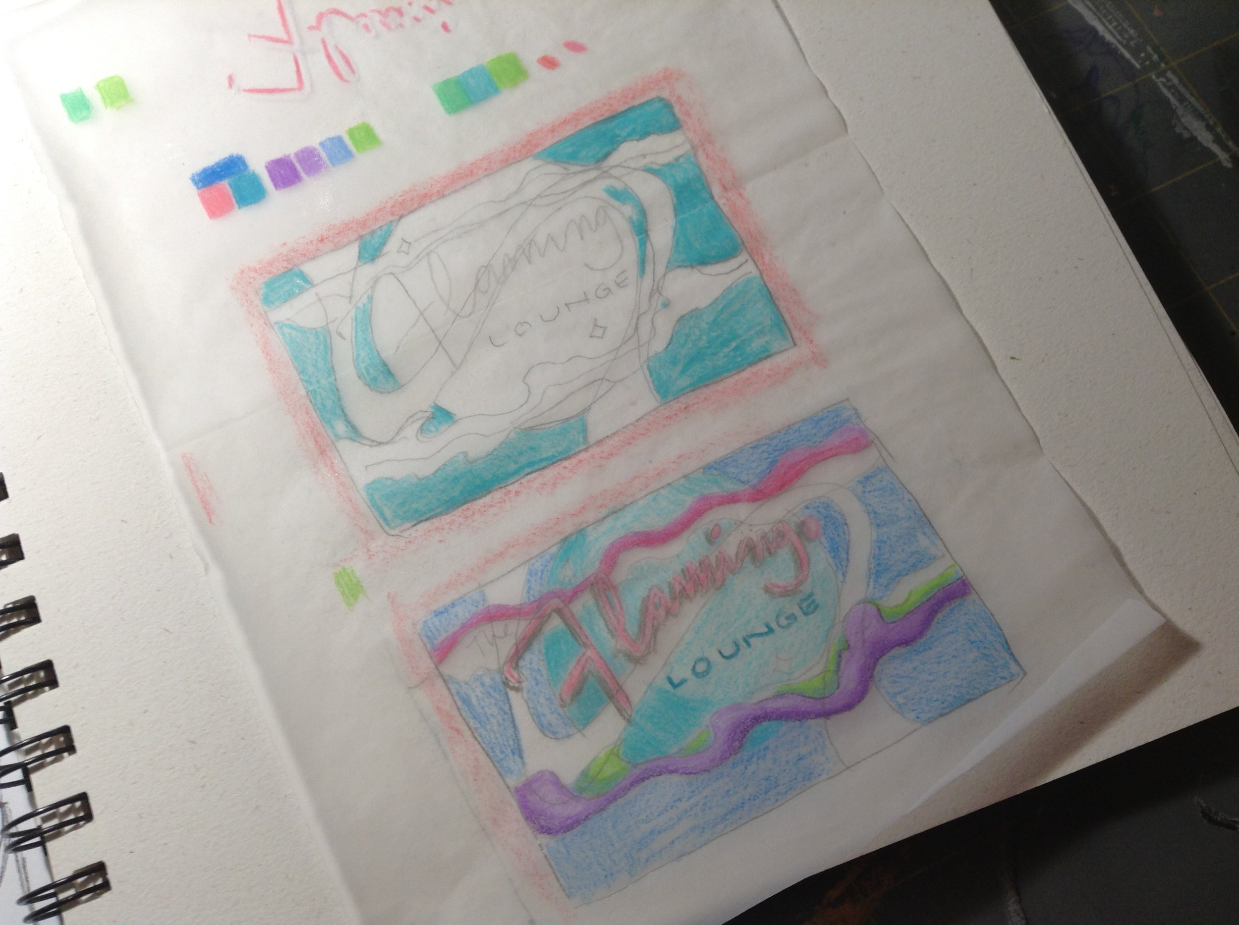 I used colored pencil on tracing paper over a thumbnail sketch to test color combos.