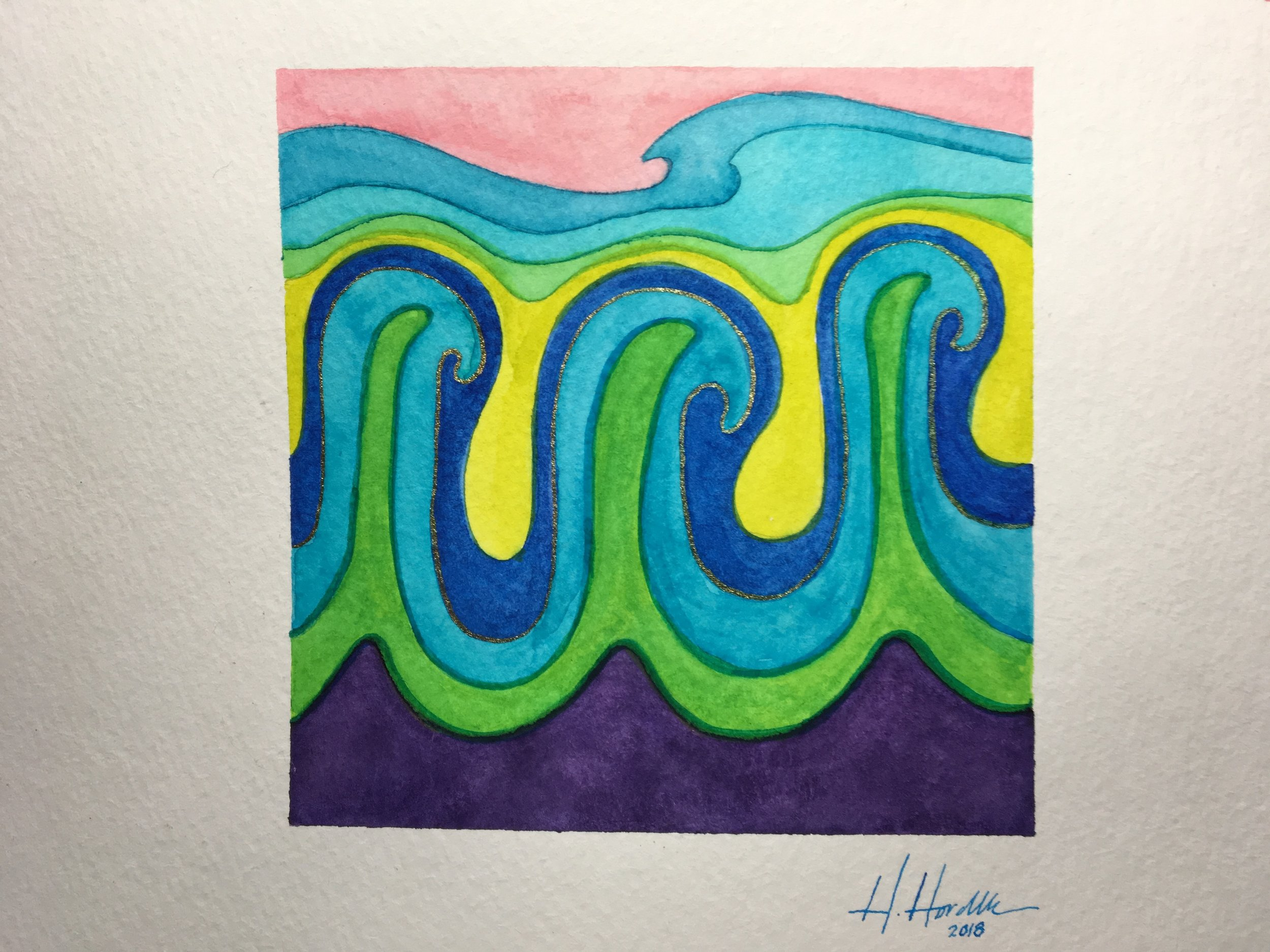 But I love love love the two waves at the top, and the pink sky. I might try to do a whole painting of just that theme.
