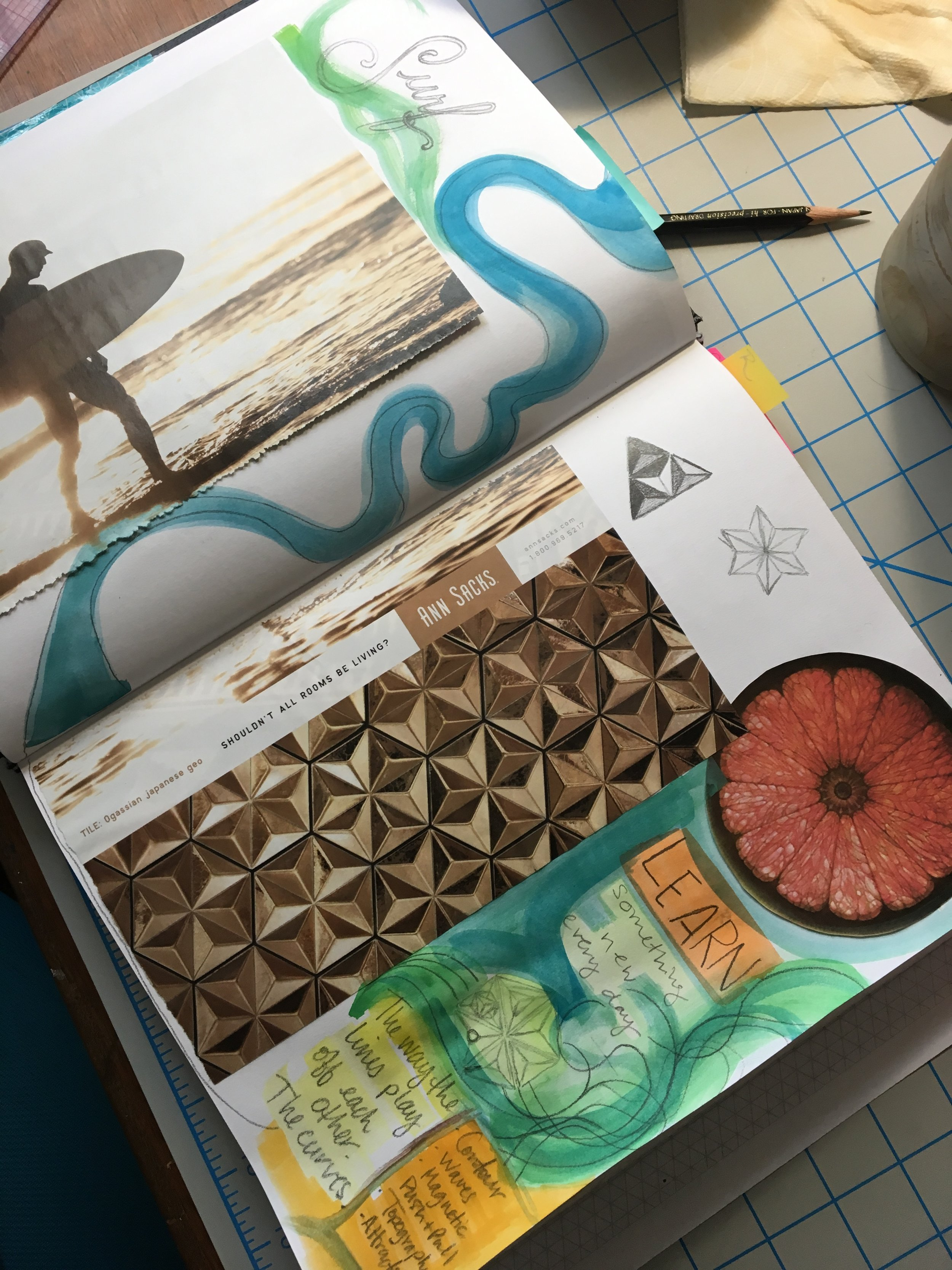 Tile design by Ann Sacks - Found in Elle Decor magazine and pasted in my sketchbook