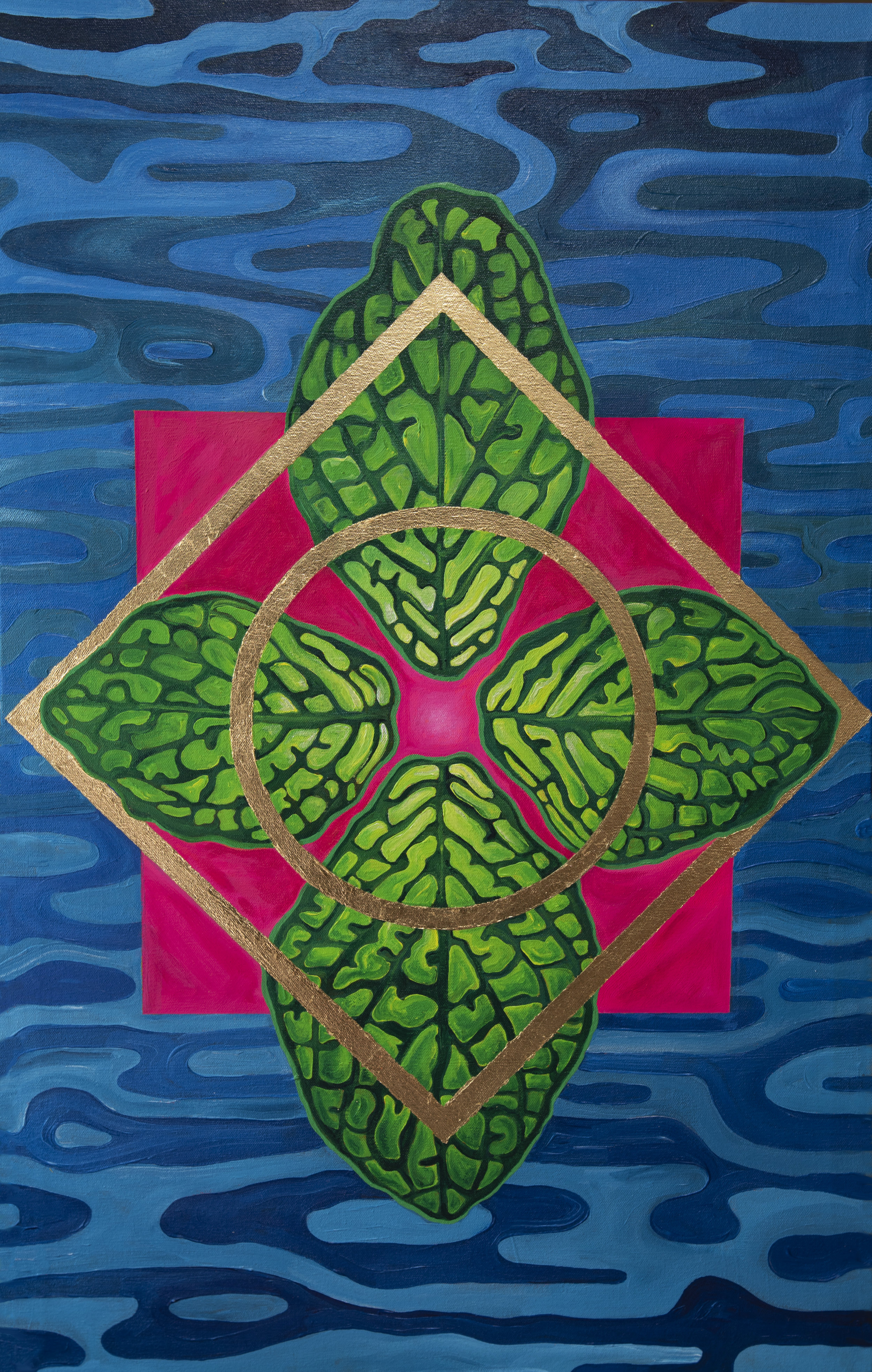 """Became these leaves. - 19""""x30"""" Acrylic painting."""