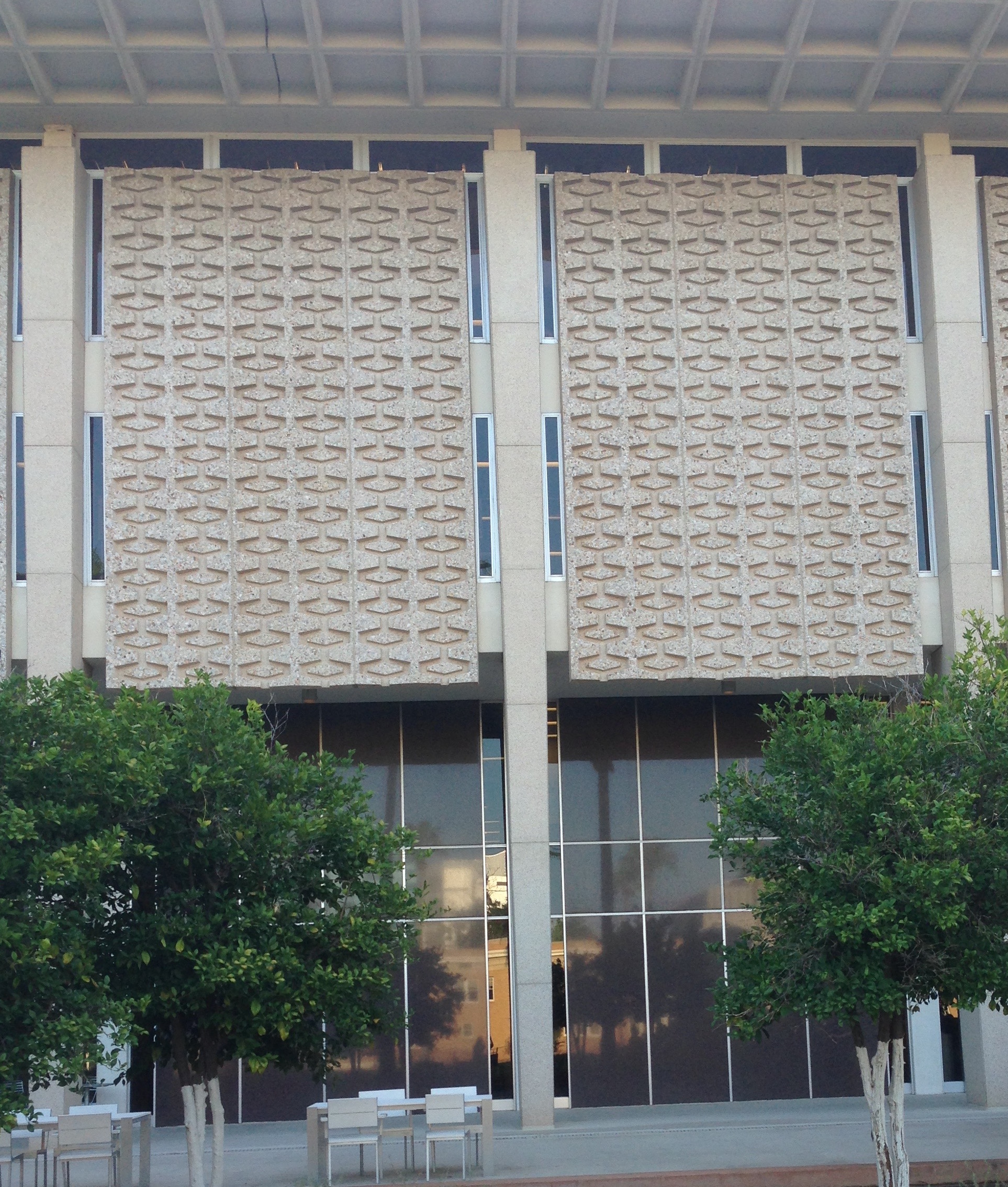 The old ASU library with its midcentury modern exterior concrete patterning.