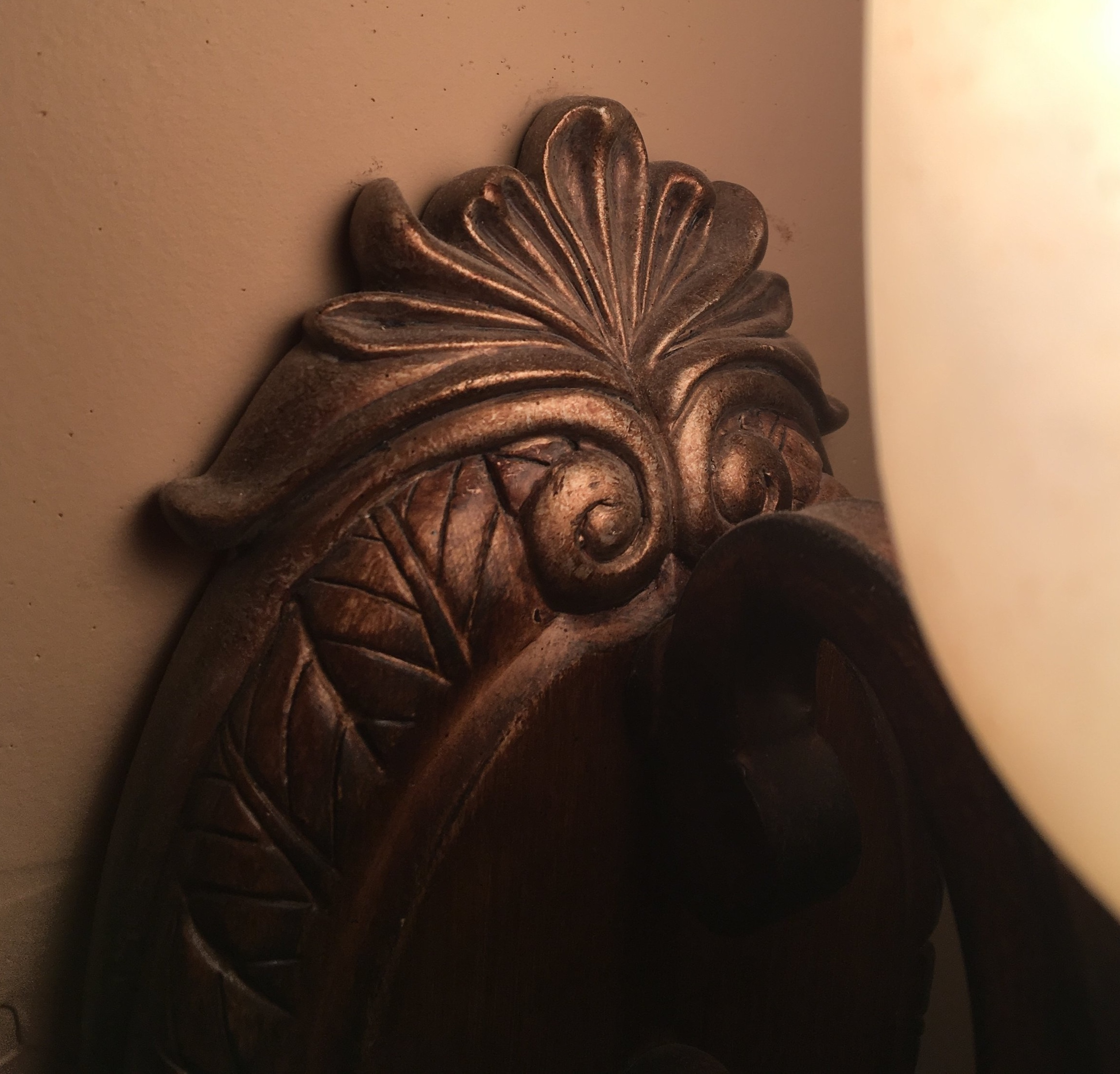 detail of a wall sconce in a friend's bathroom.