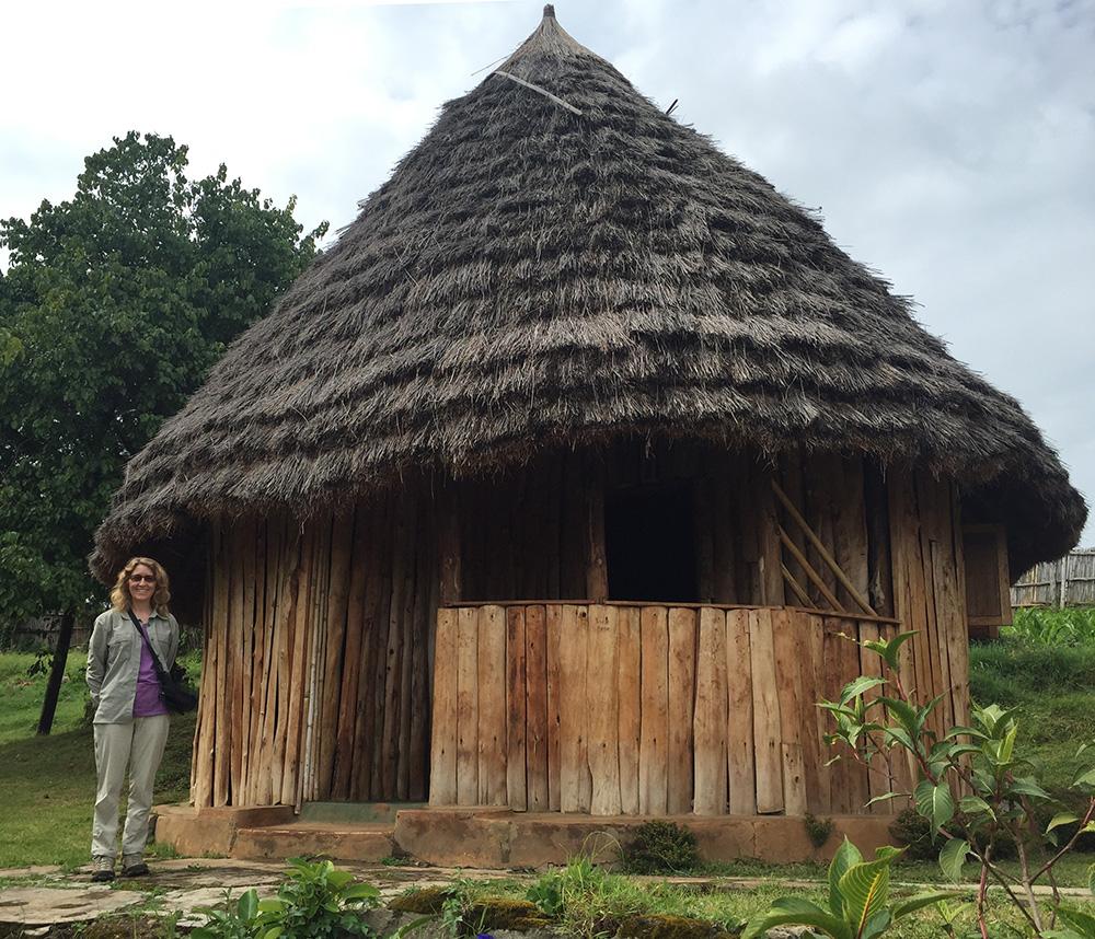 Donna at our hut at Sipi Falls