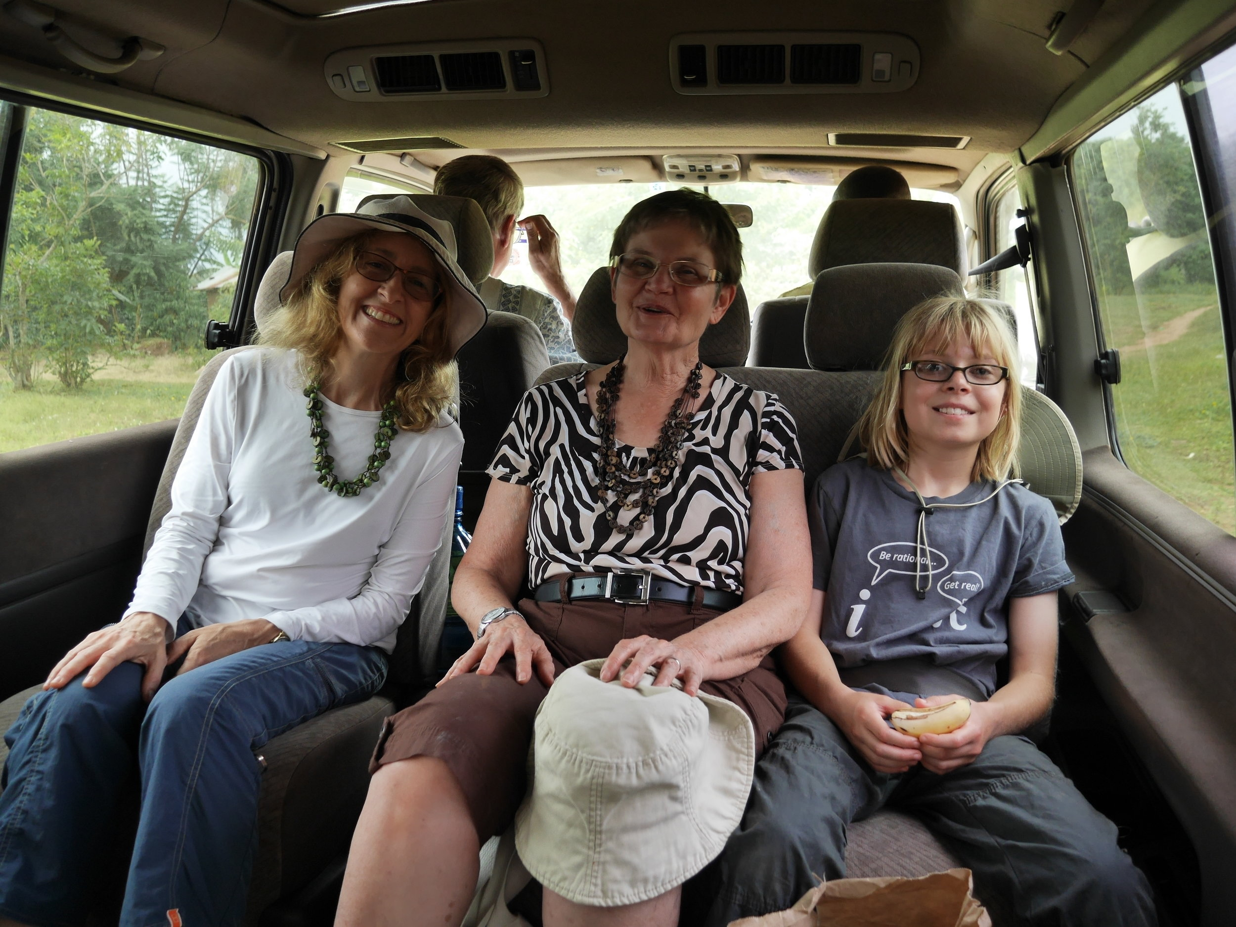 Three generations of adventurers in our (then clean) tour van: Donna, Ruth, and Colleen Leacock