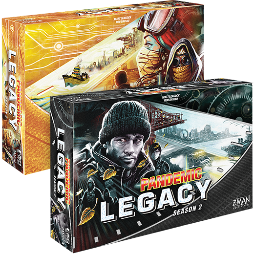 Pandemic Legacy: Season 2 will be available in a yellow box and black box. Aside from the cover art and rulebook cover, the contents are identical.
