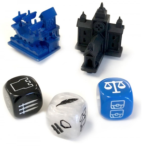 The Harbor and Great Hall along with the Baron, Bishop, and Merchant dice that come in Collector's Set #1.