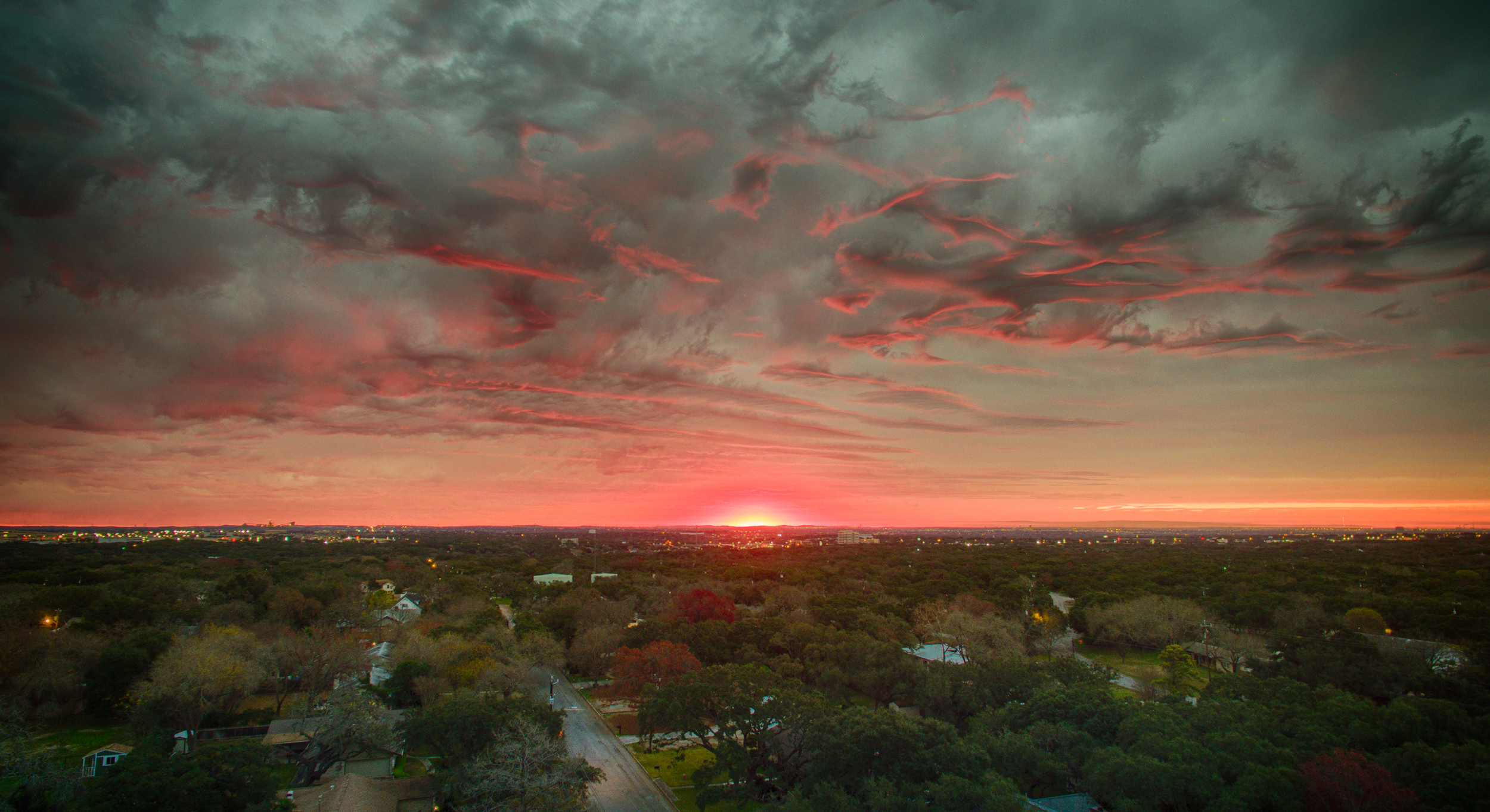 Sunrise over the Town of Hollywood Park, Texas