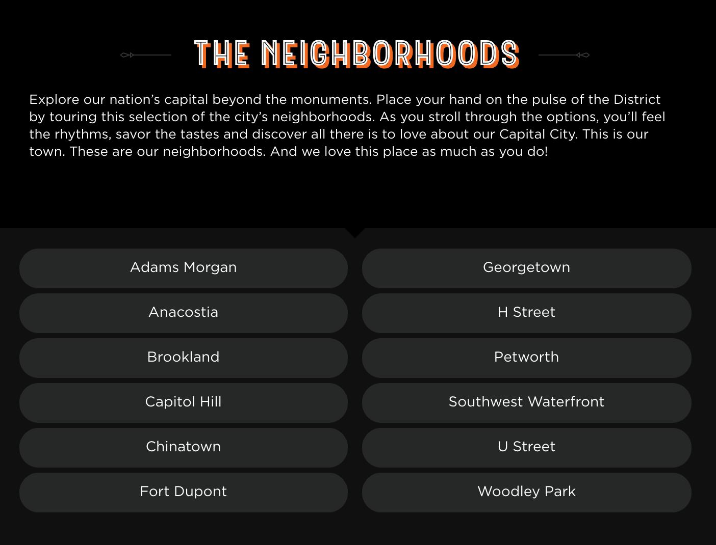 DC Lottery Neighborhoods