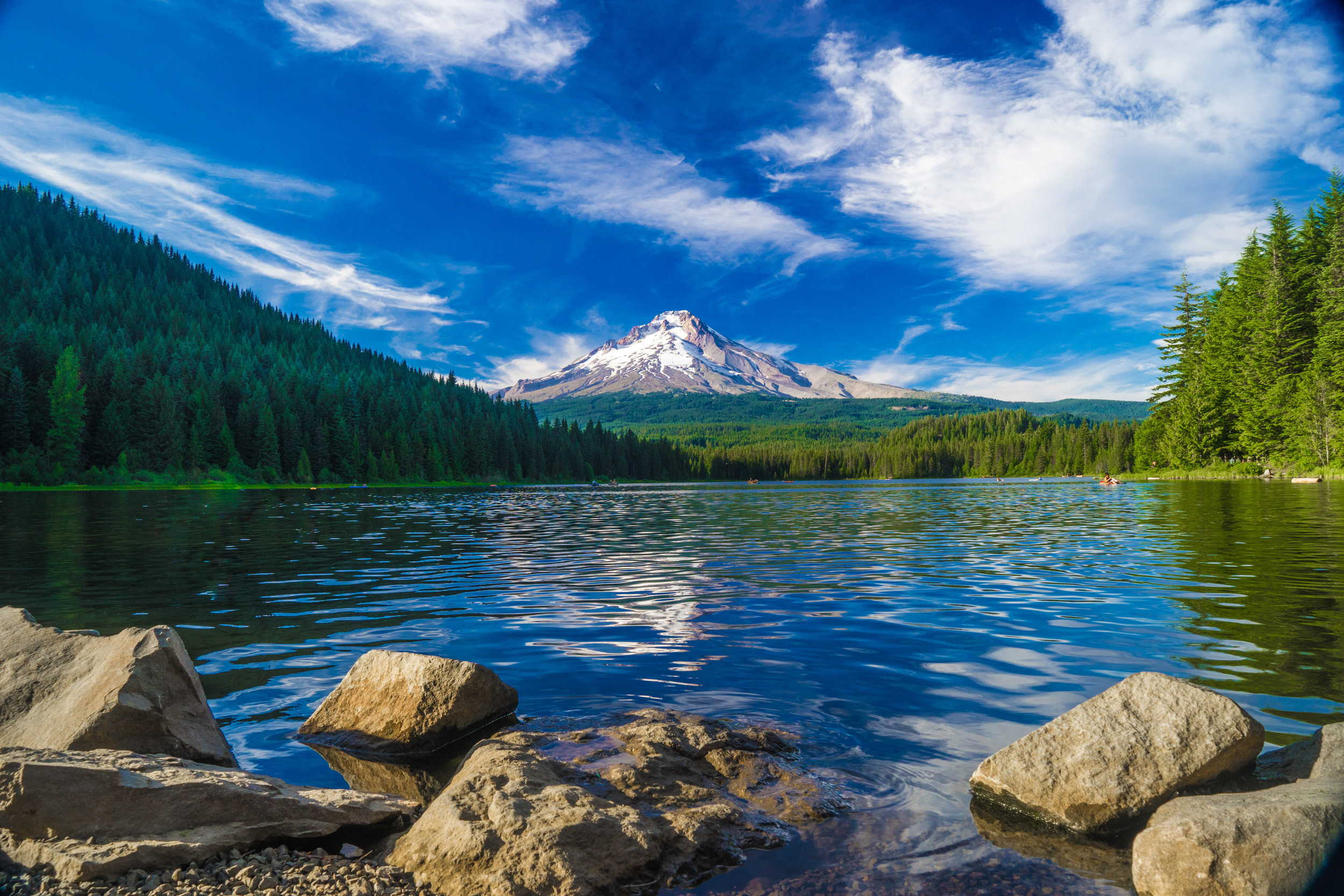 Mount Hood as seen from  Trillium Lake . An absolutely stunning view.