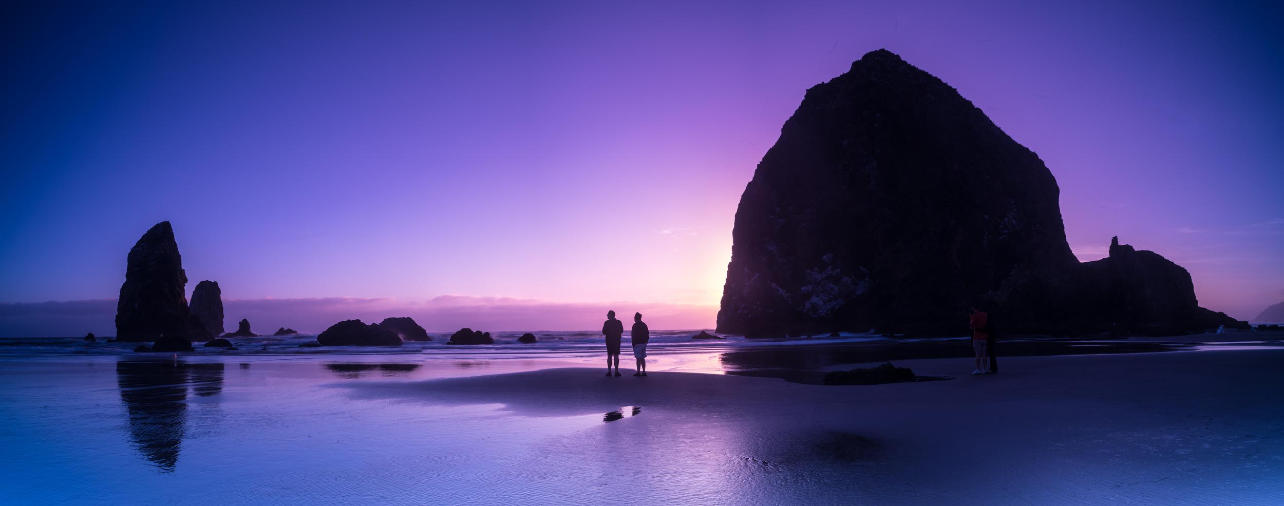 Haystack Rock at dusk.