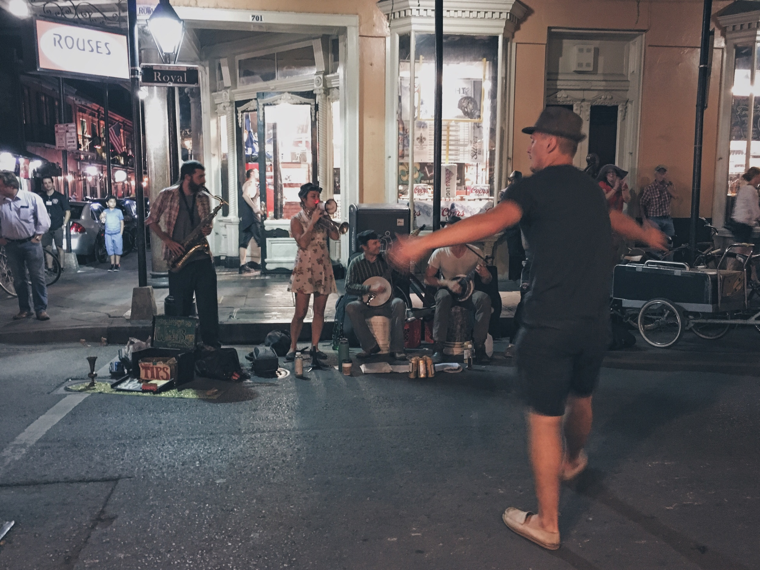 "There are street performers everywhere in the  French Quarter . Here is a band called "" The Royal Street Windin Boys "" performing on, you guessed it, Royal Steet."