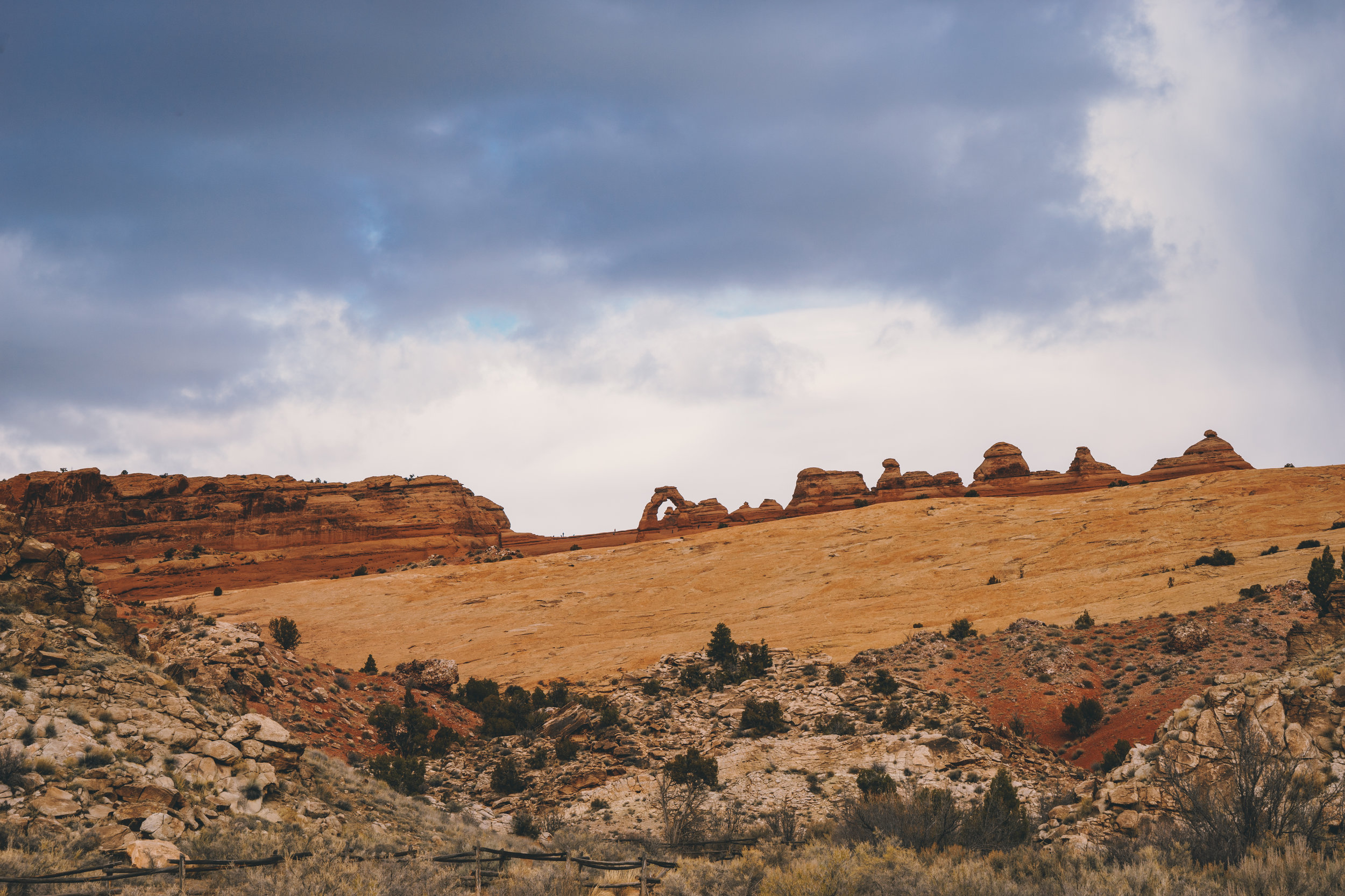 The  Delicate Arch   (middle)as seen from the  Lower Delicated Arch Viewpoint