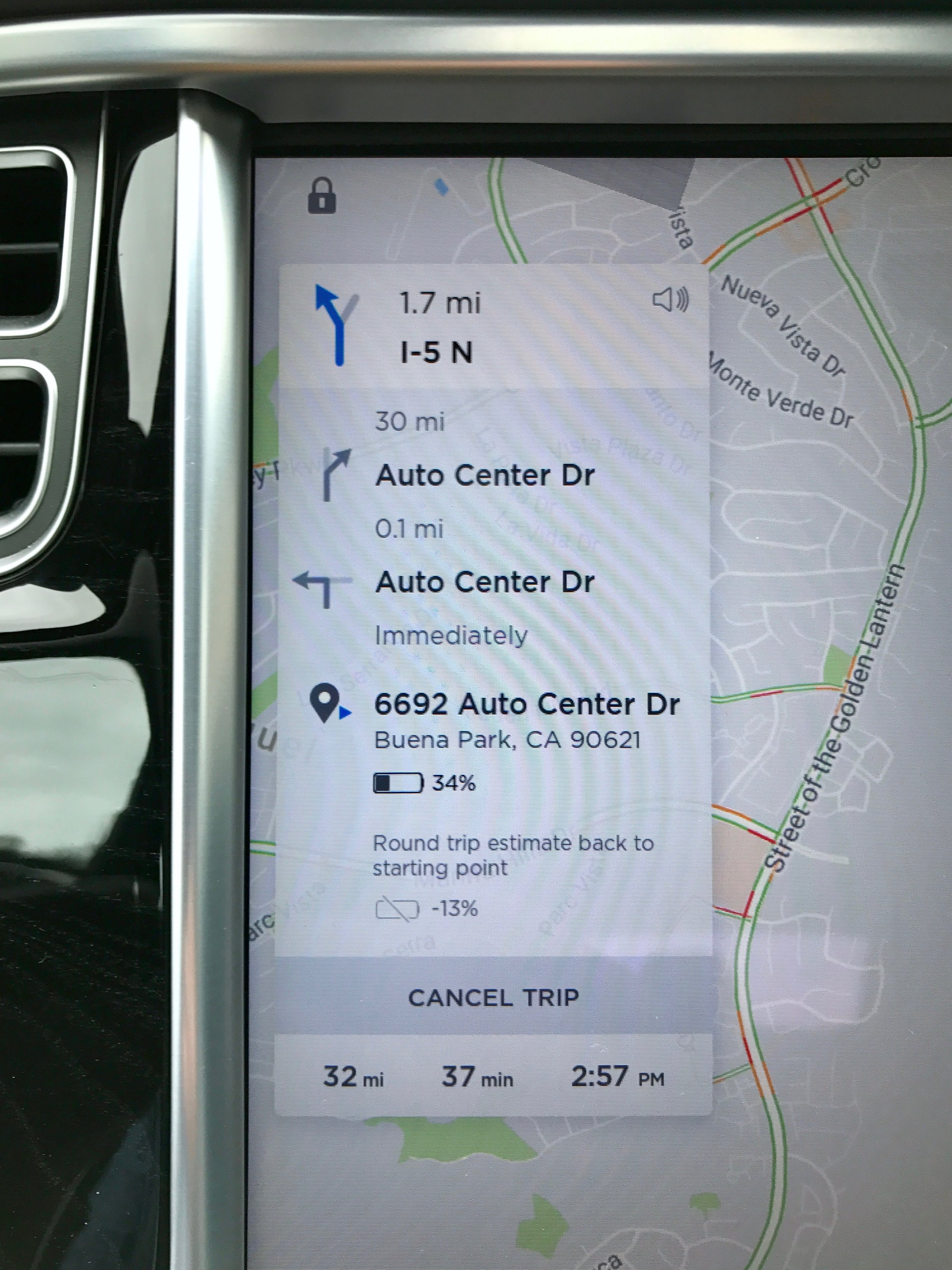 The navigation system will approximate the battery charge left once you reach your destination. If you don't have enough charge to get there, the navigation will automatically route you to the Supercharger along the way.