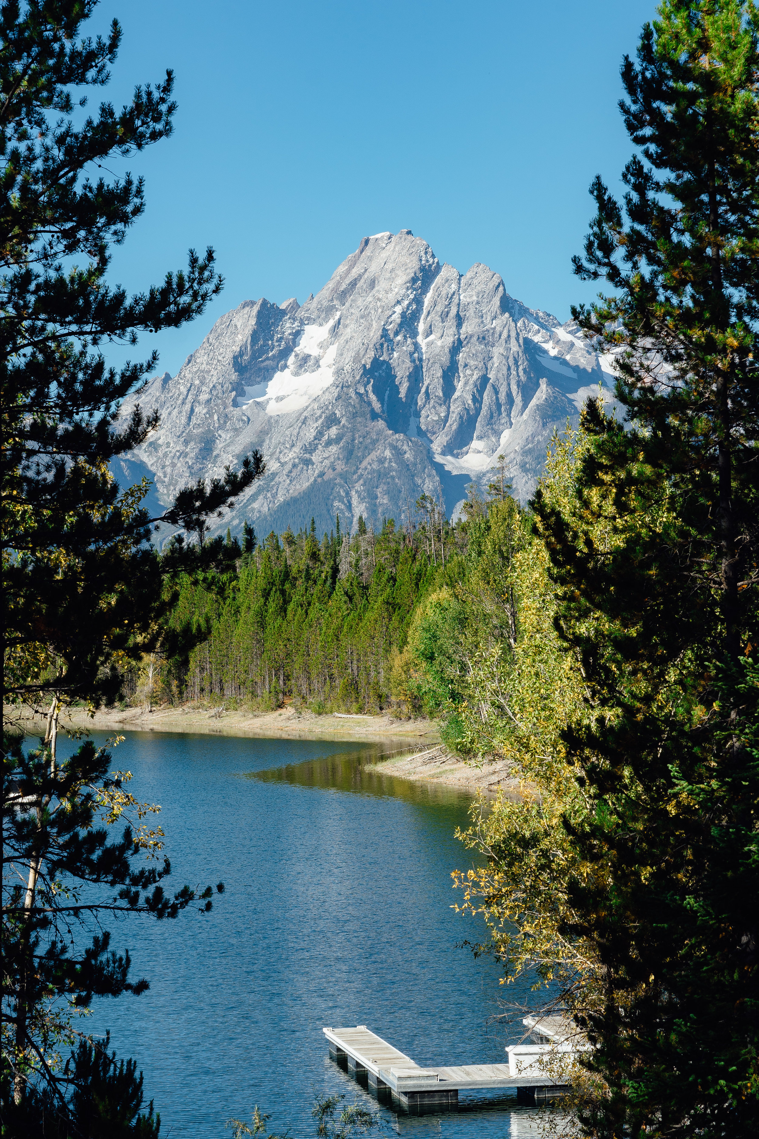 View of the Grand Teton from the  Colter Bay Visitor Center .