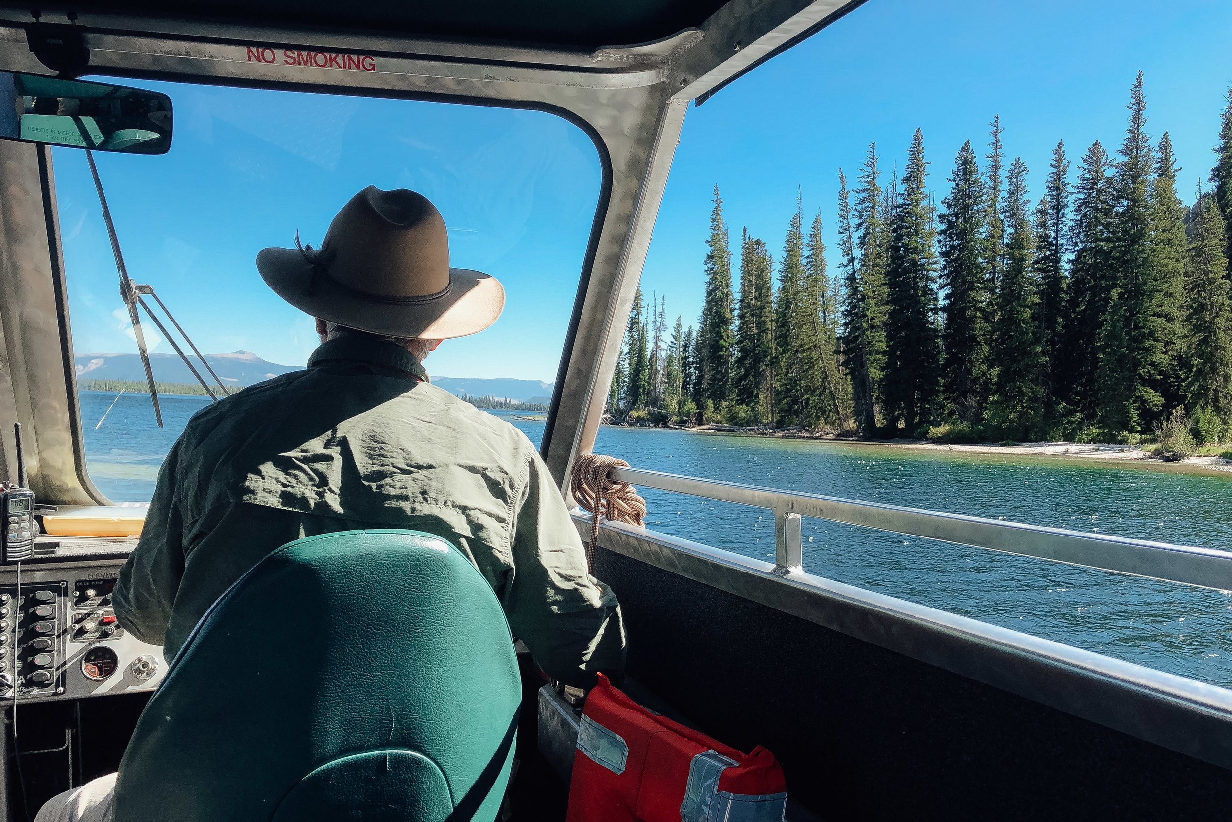 The boat ride across  Jenny Lake  to the Cascade Trail head.