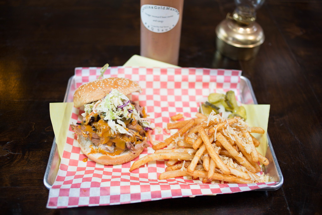 Smoke Tree BBQ Palm Springs sandwich and fries