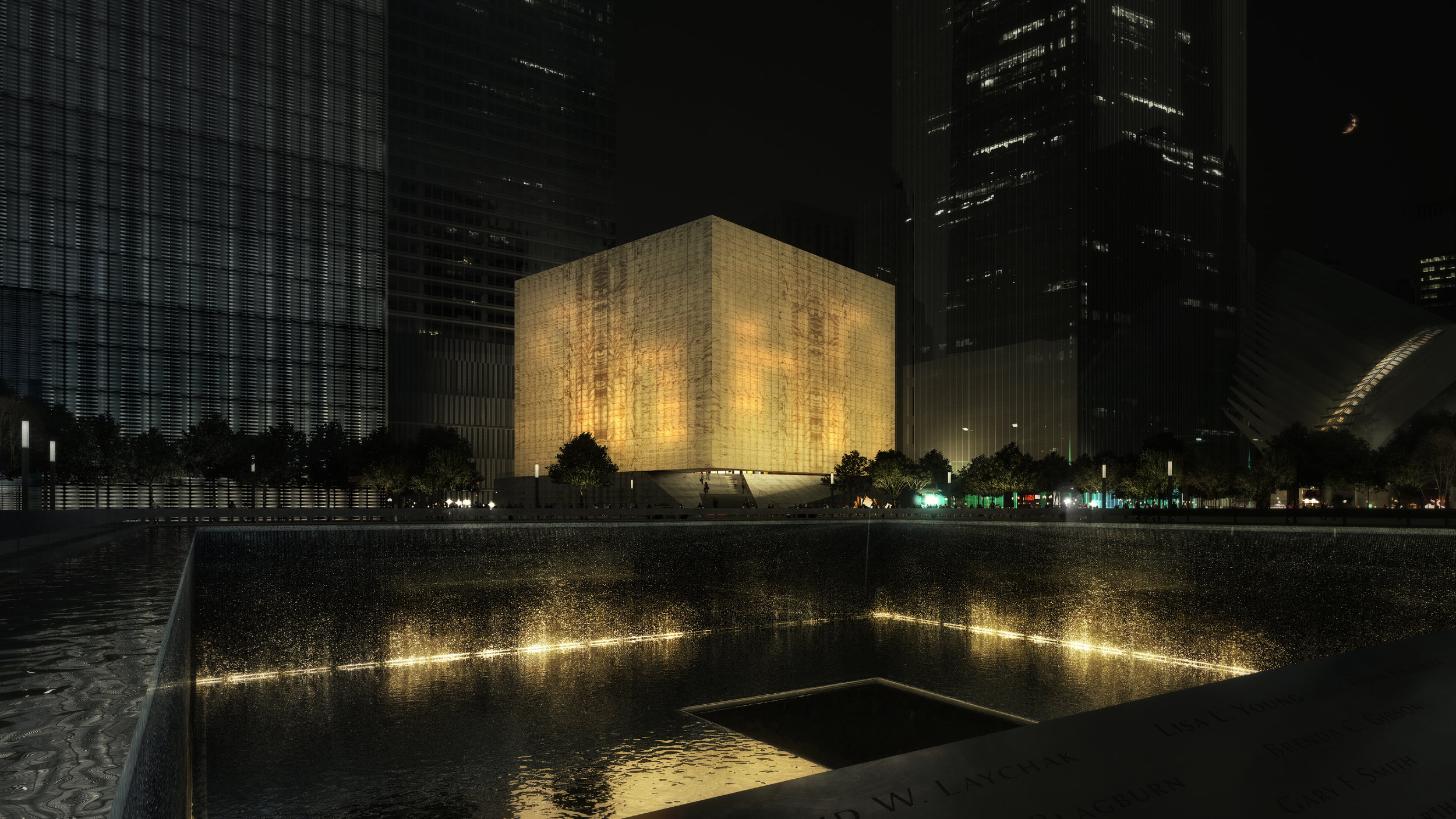 NIGHT RENDER FROM SOUTHWEST (MEMORIAL)