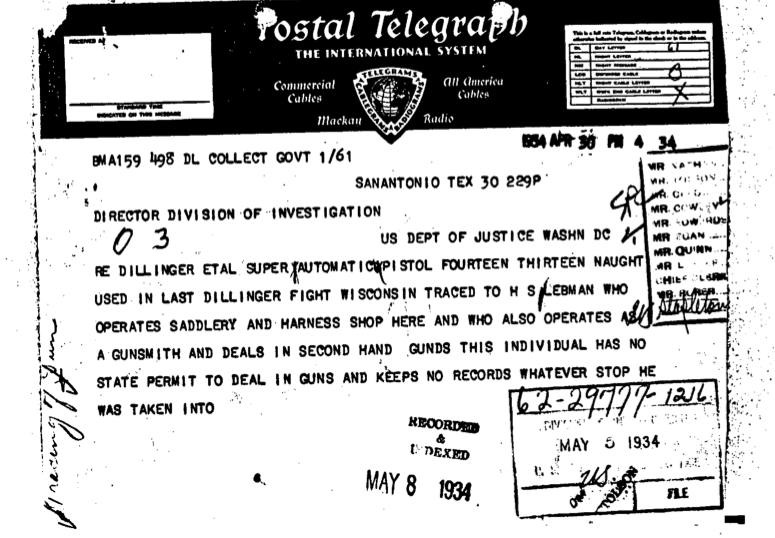 After Little Bohemia, 1934: Portion of a wire sent to FBIHQ on the trace connection to Lebman